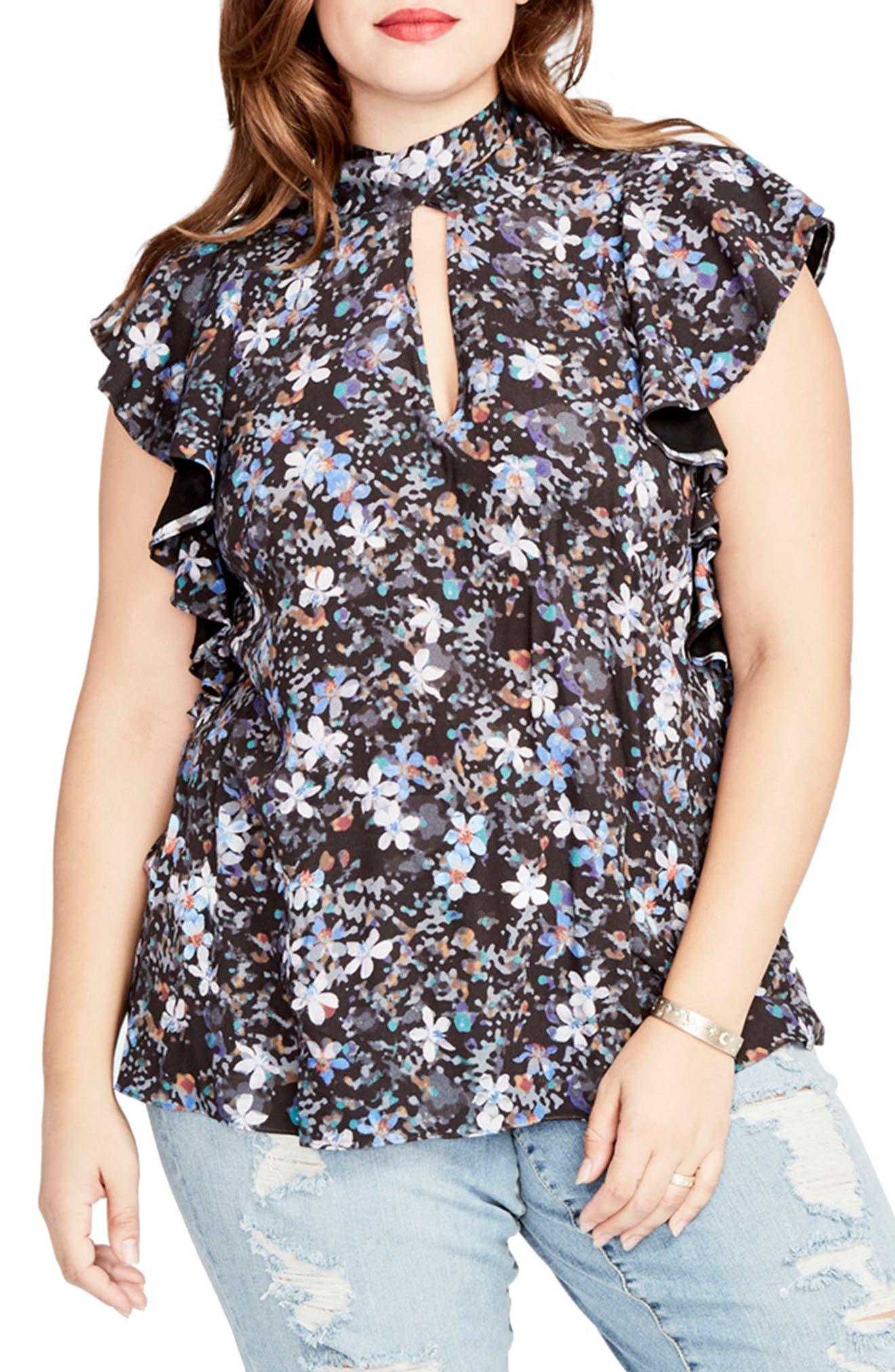 Main Image - RACHEL Rachel Roy Tie Back Ruffle Top (Plus Size)