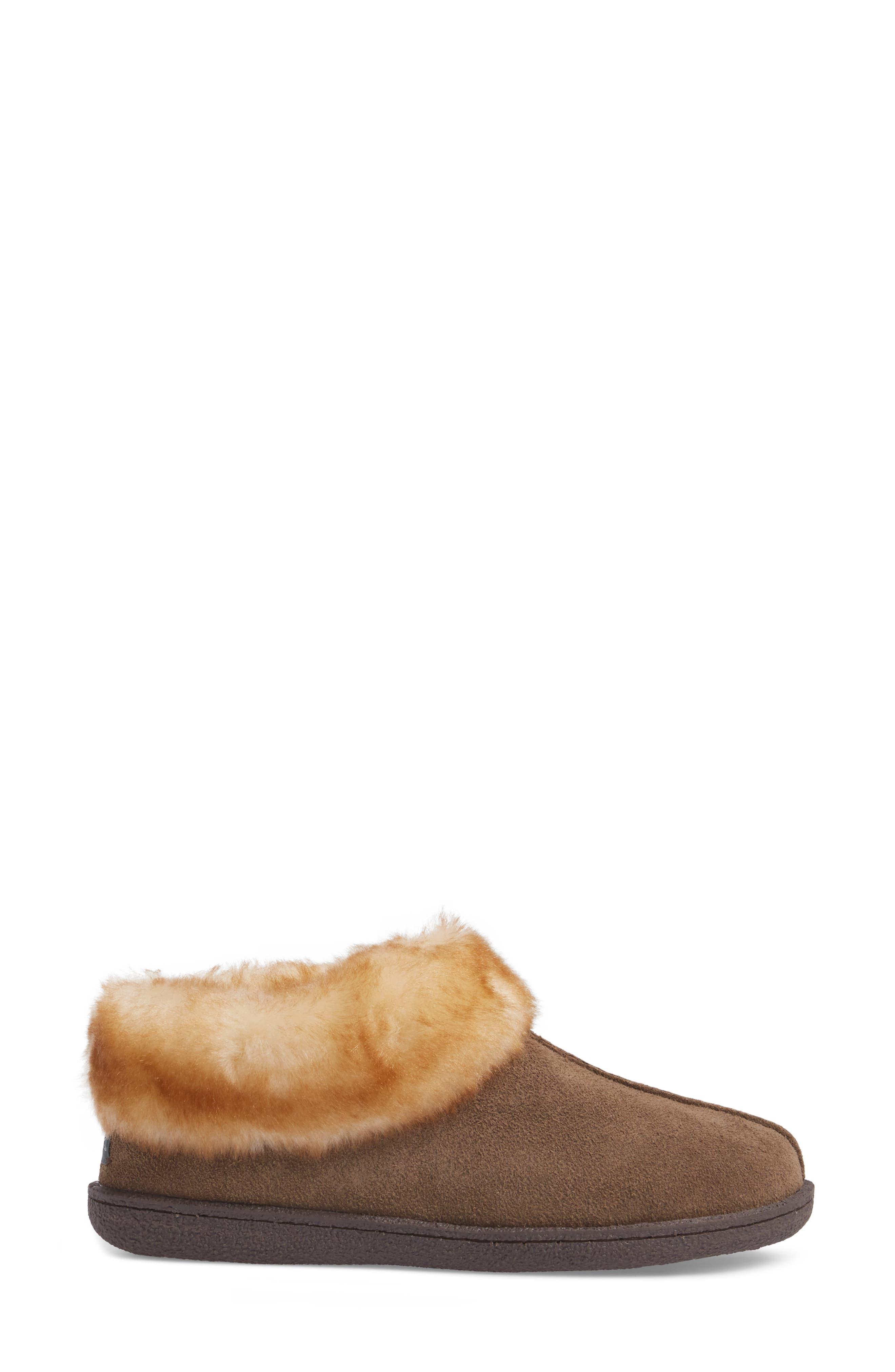 Autumn Ridge II Faux Fur Slipper Bootie,                             Alternate thumbnail 3, color,                             Walnut Suede