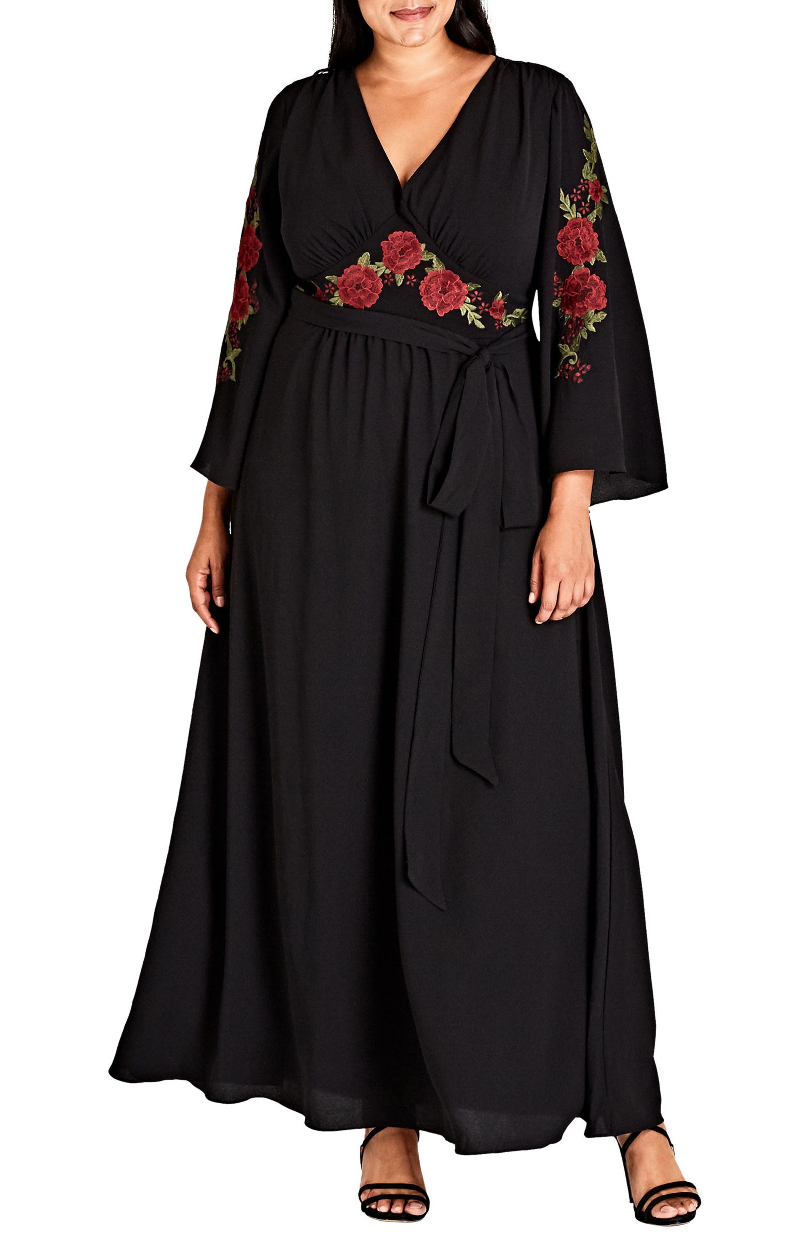 Adorned Maxi Dress,                         Main,                         color, Black