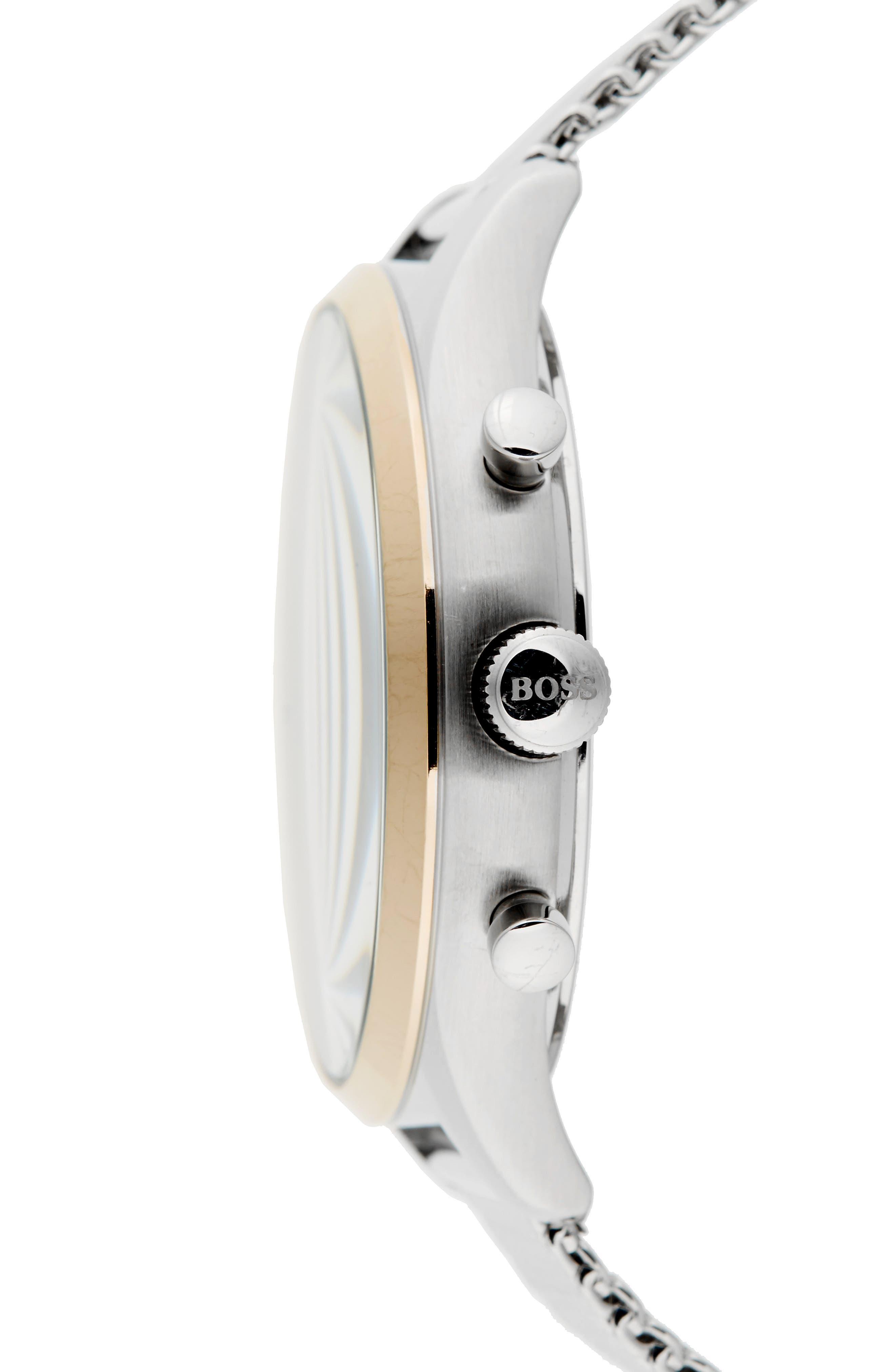 Companion Chronograph Mesh Bracelet Watch, 42mm,                             Alternate thumbnail 3, color,                             Gunmetal/ Stainless Steel