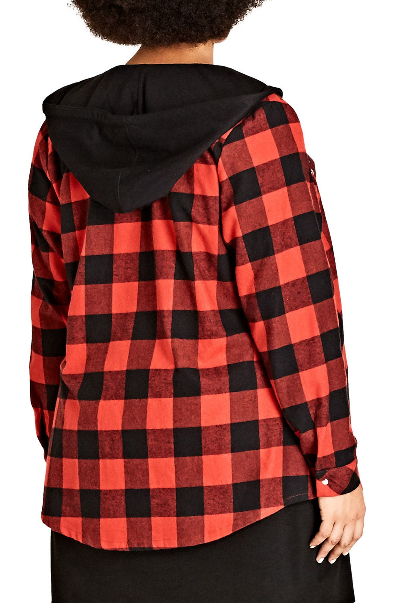 Check Mate Hooded Jacket,                             Alternate thumbnail 2, color,                             Red Check