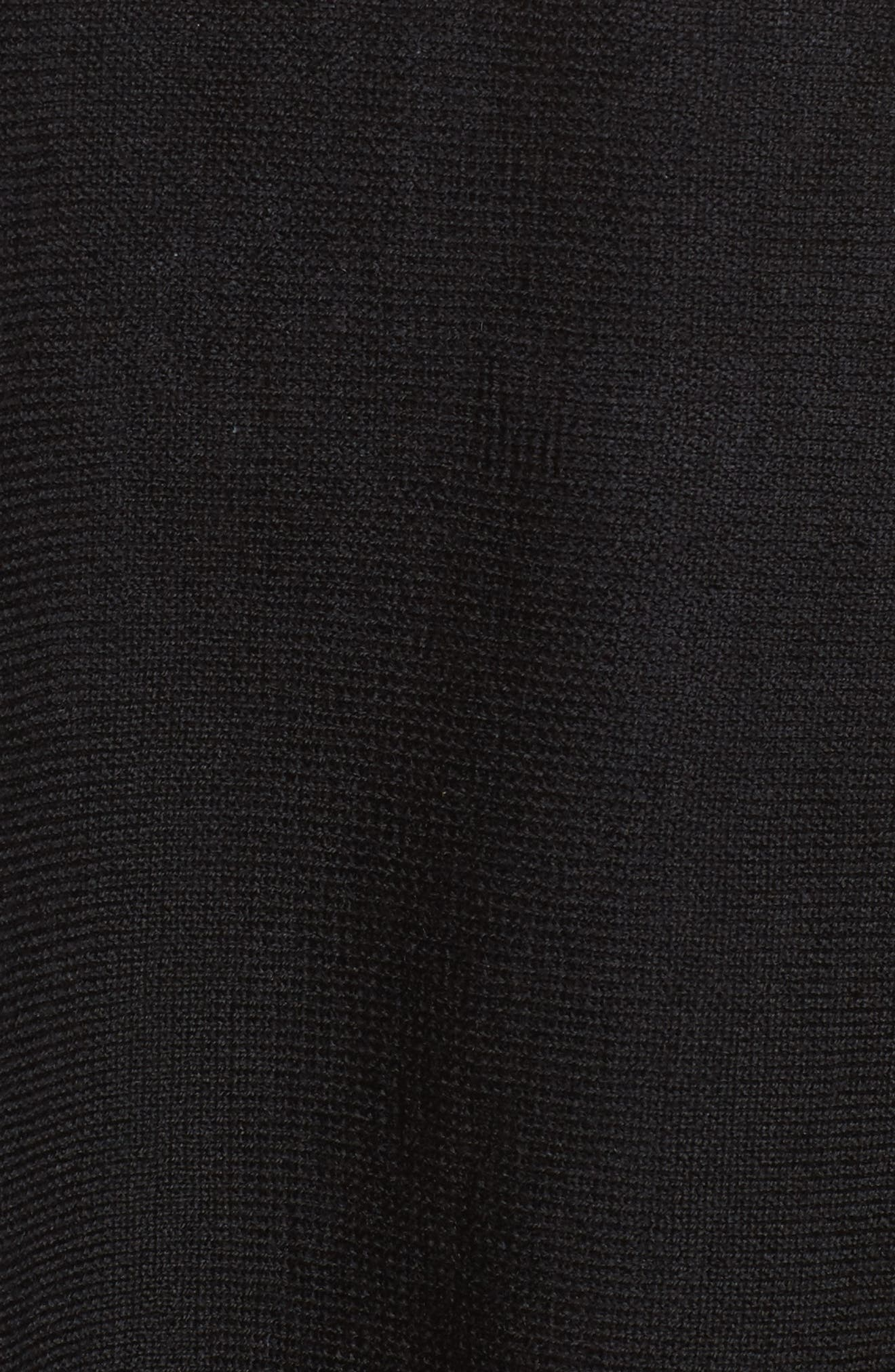 Crop Merino Wool Sweater,                             Alternate thumbnail 5, color,                             Black