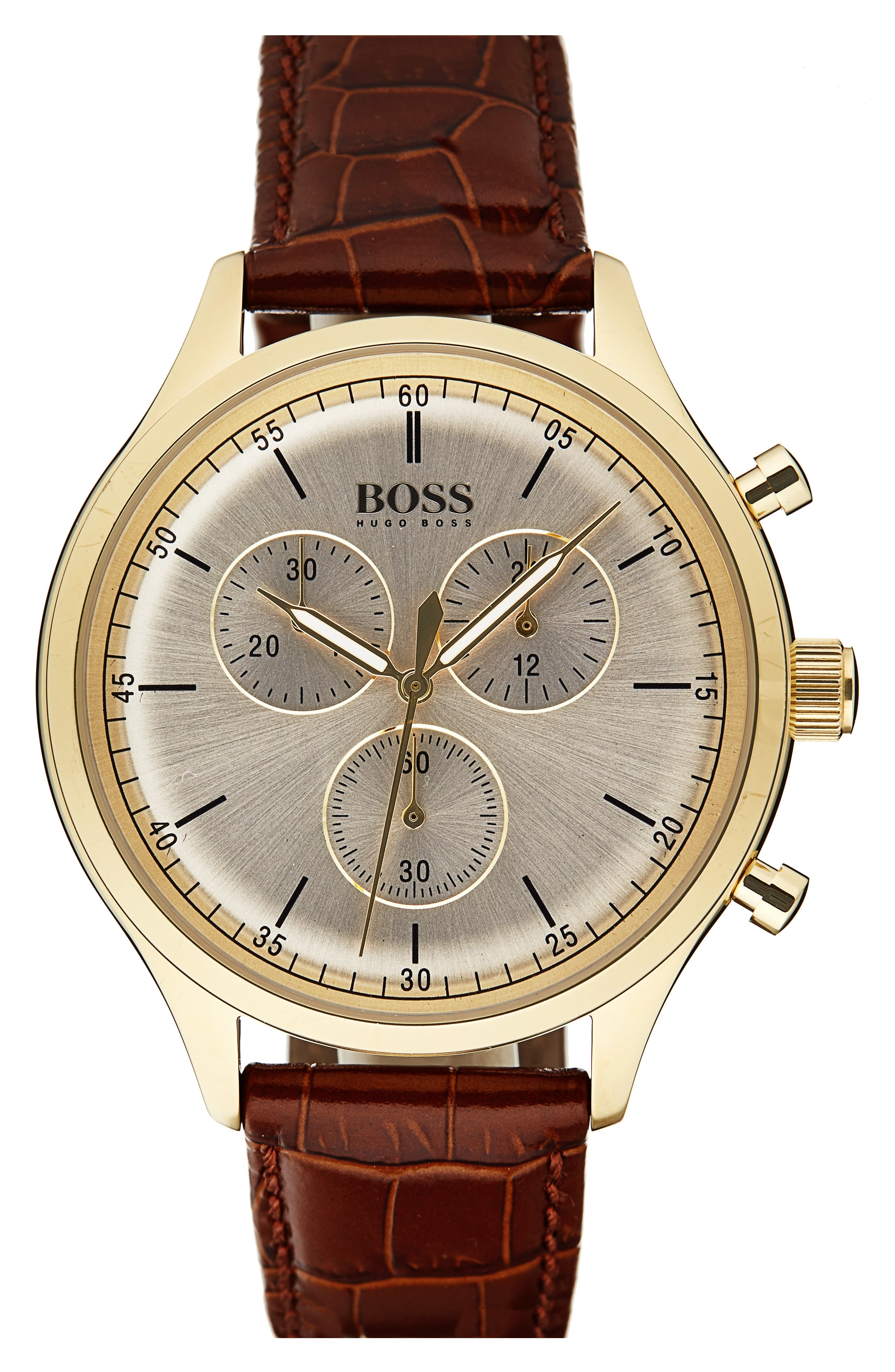 Alternate Image 1 Selected - BOSS Companion Chronograph Leather Strap Watch, 42mm