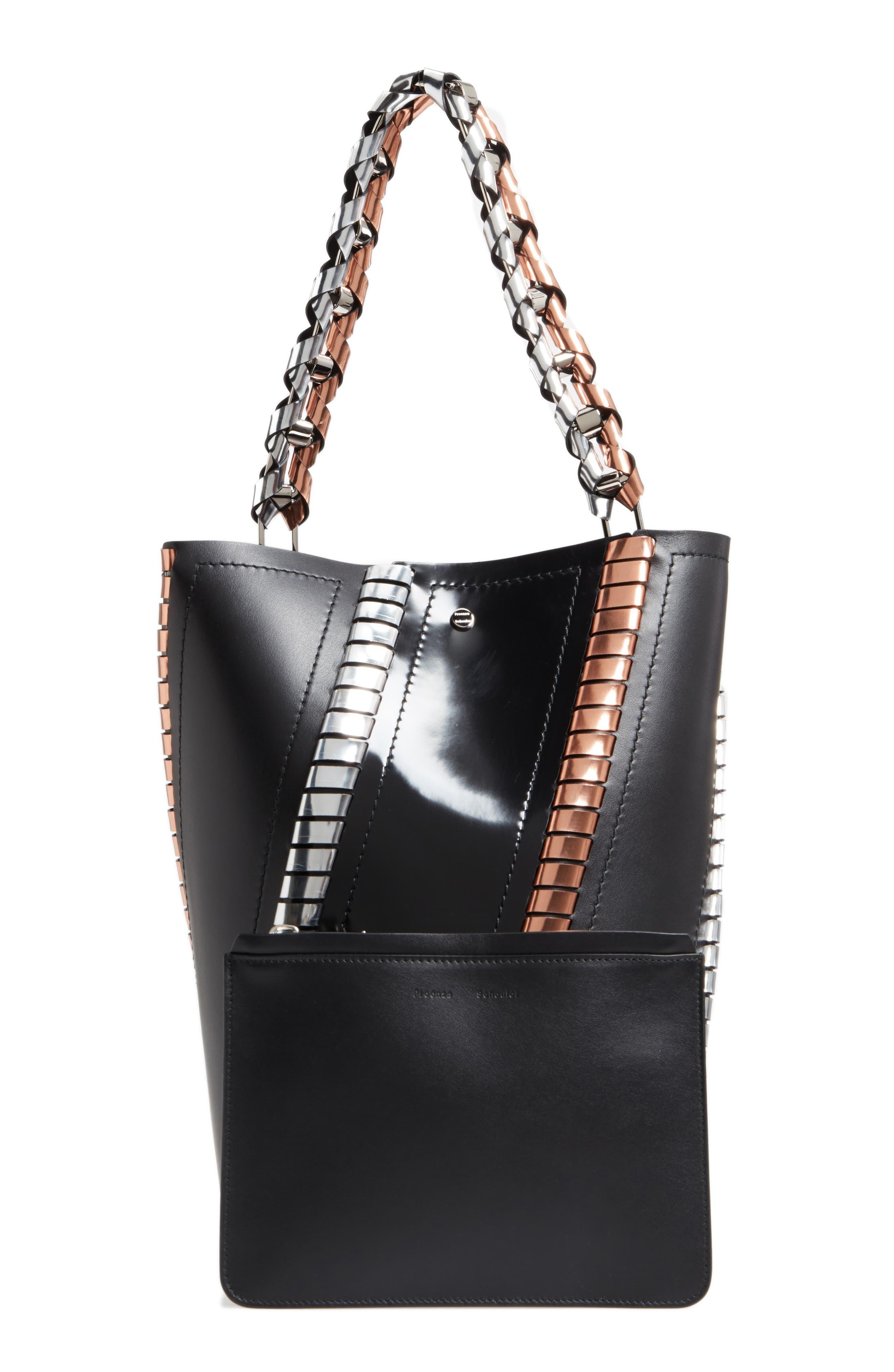 Medium Hex Metallic Whipstitch Leather Bucket Bag,                             Alternate thumbnail 2, color,                             Black Mix