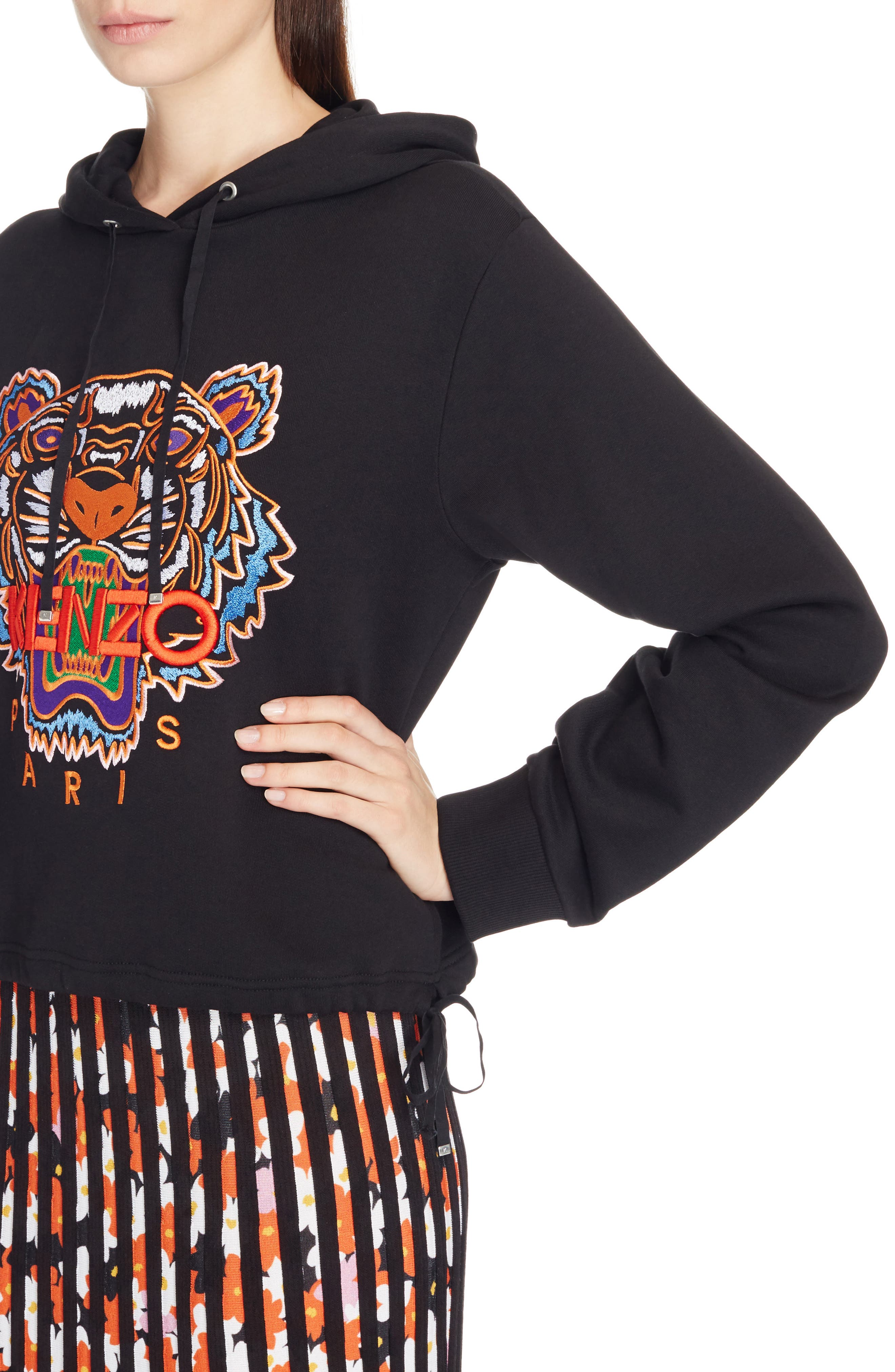 Tiger Embroidered Hoodie,                             Alternate thumbnail 5, color,                             Black