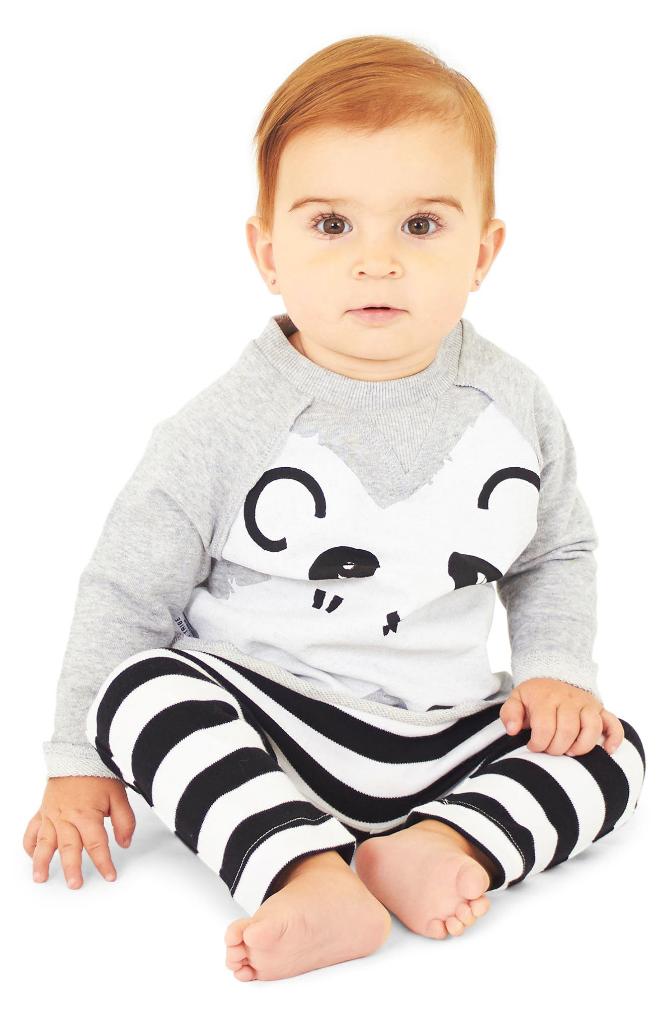 Panda Sweatshirt & Leggings Set,                             Alternate thumbnail 2, color,                             Grey And Black