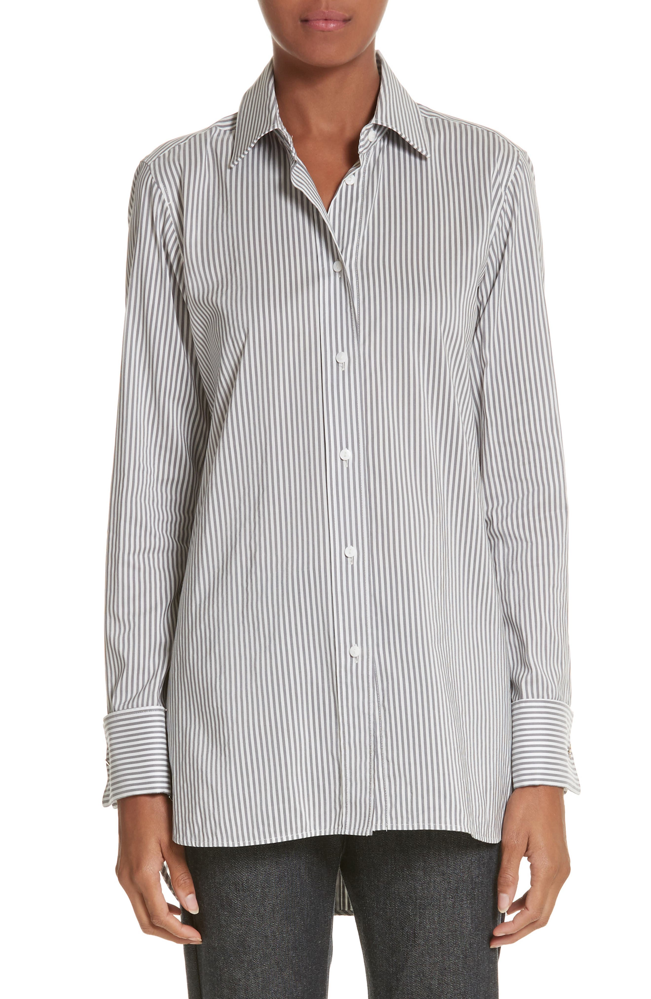 Filato Stripe Cotton & Silk Shirt,                             Main thumbnail 1, color,                             Medium Grey