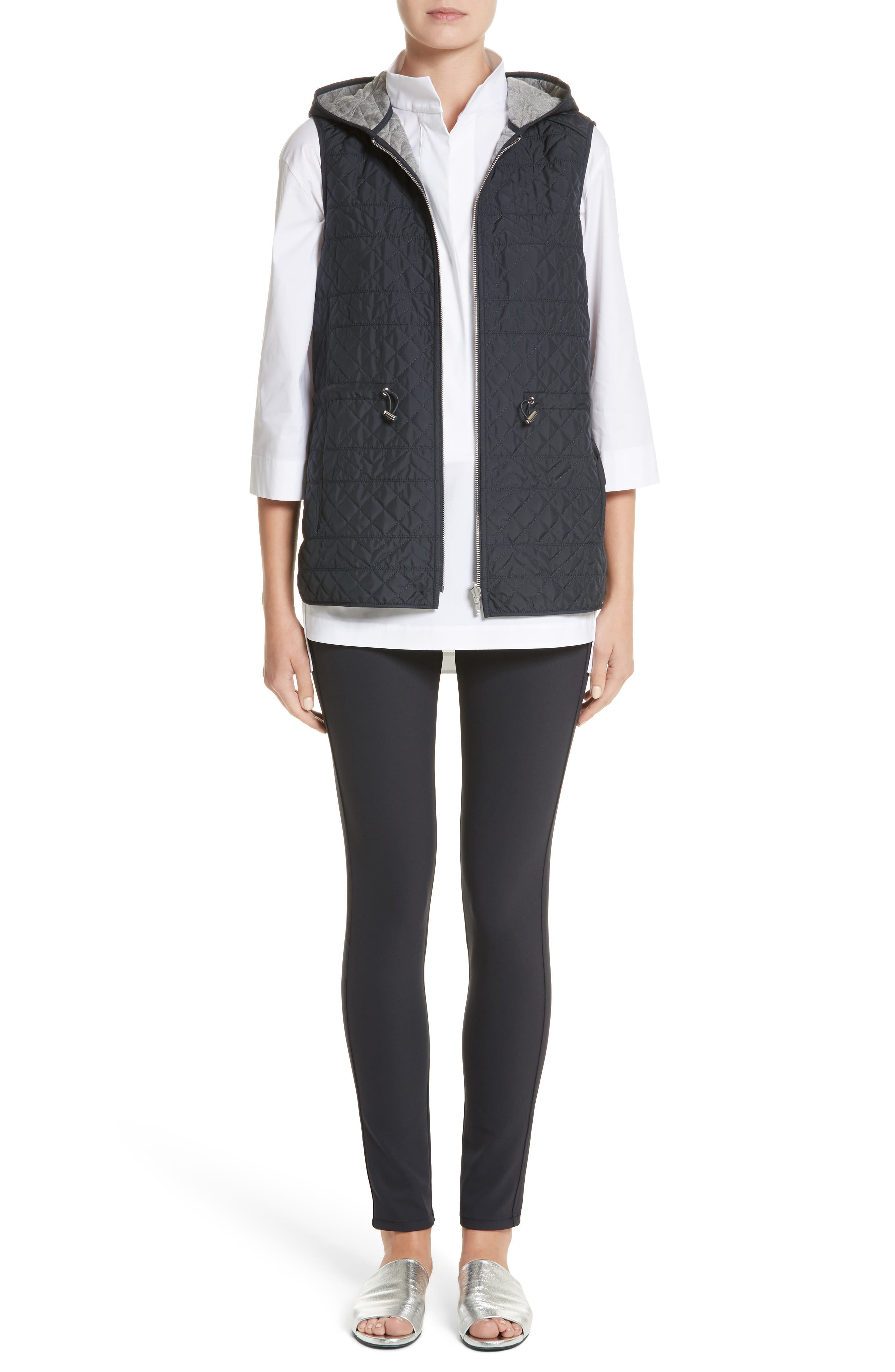 Ginny Reversible Hooded Vest,                             Alternate thumbnail 9, color,                             Ink/ Nickel Melange