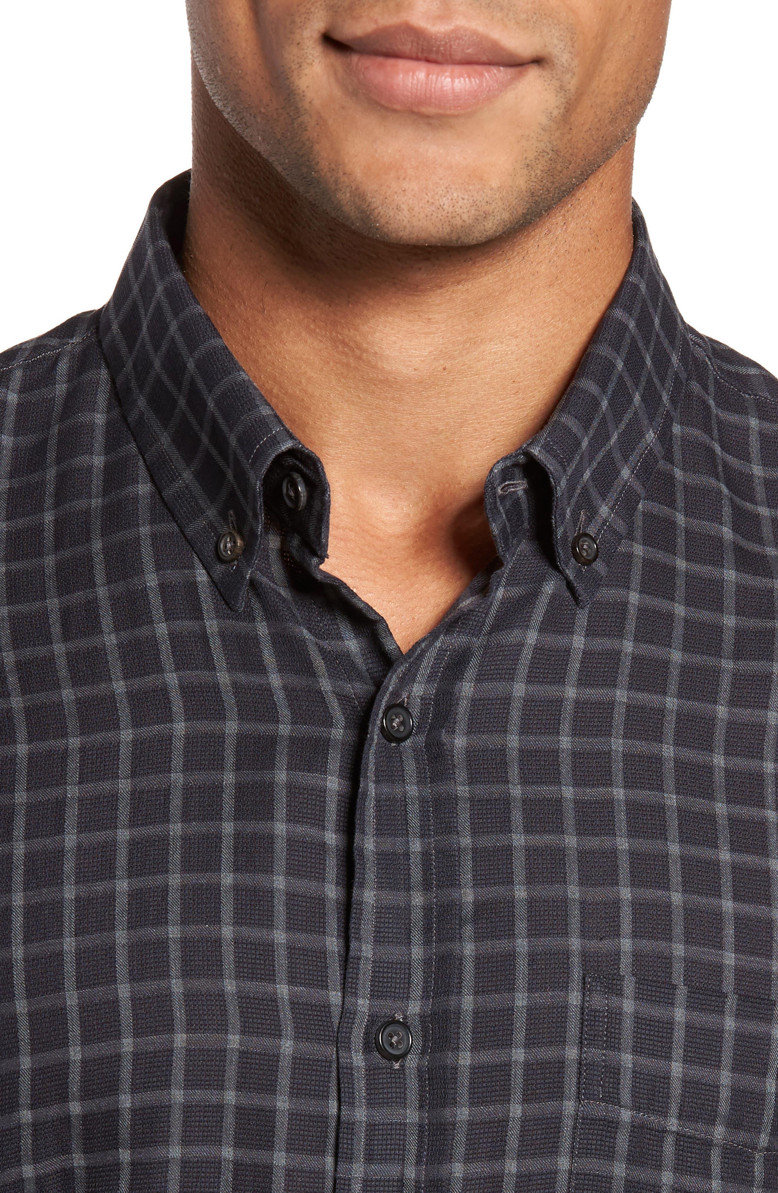 Rosedale Slim Fit Check Sport Shirt,                             Alternate thumbnail 4, color,                             Navy/ Grey