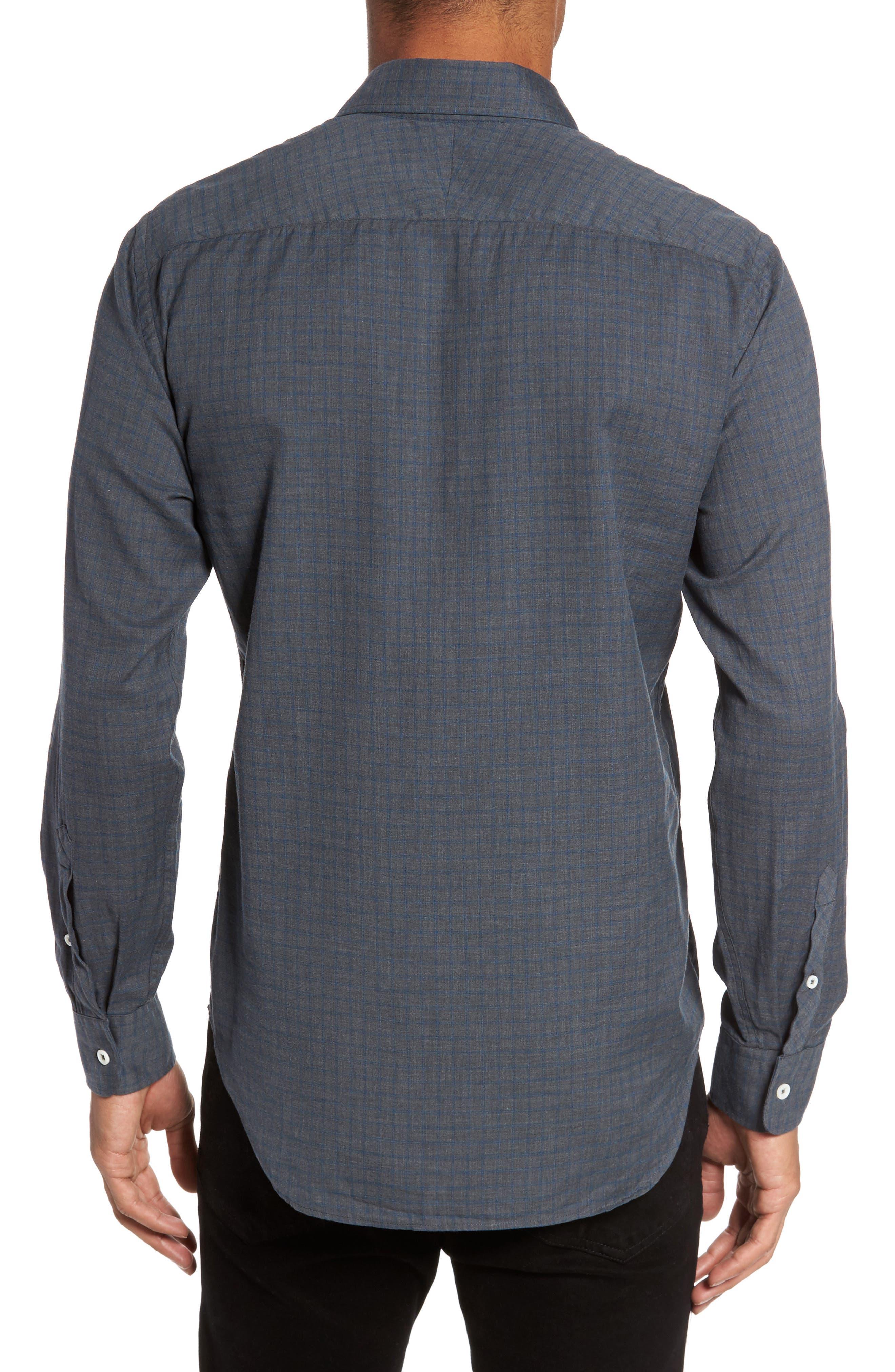 Kirby Slim Fit Check Sport Shirt,                             Alternate thumbnail 2, color,                             Grey/ Cobalt