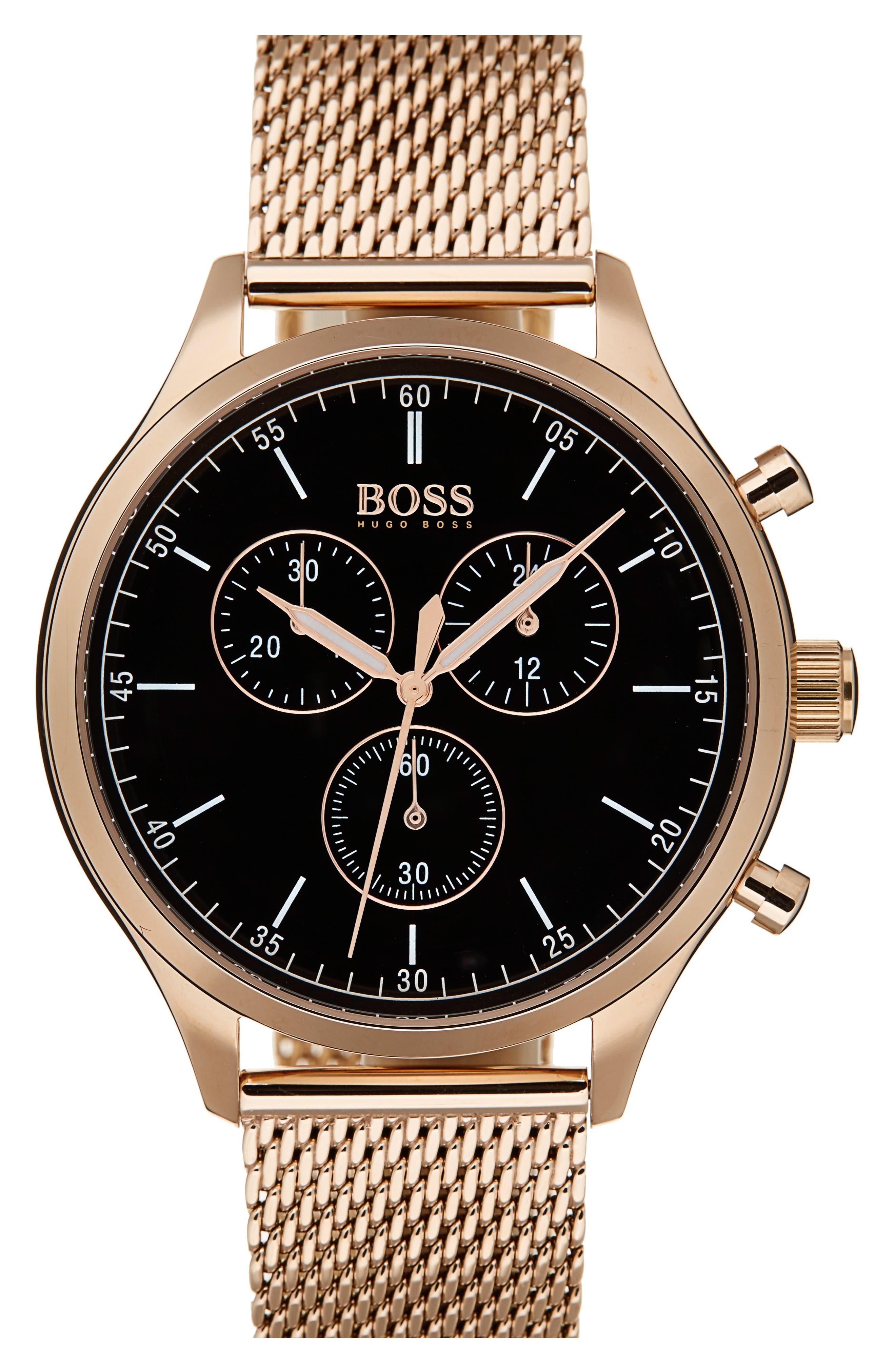 Companion Chronograph Mesh Bracelet Watch, 42mm,                         Main,                         color, Black/ Vintage Gold