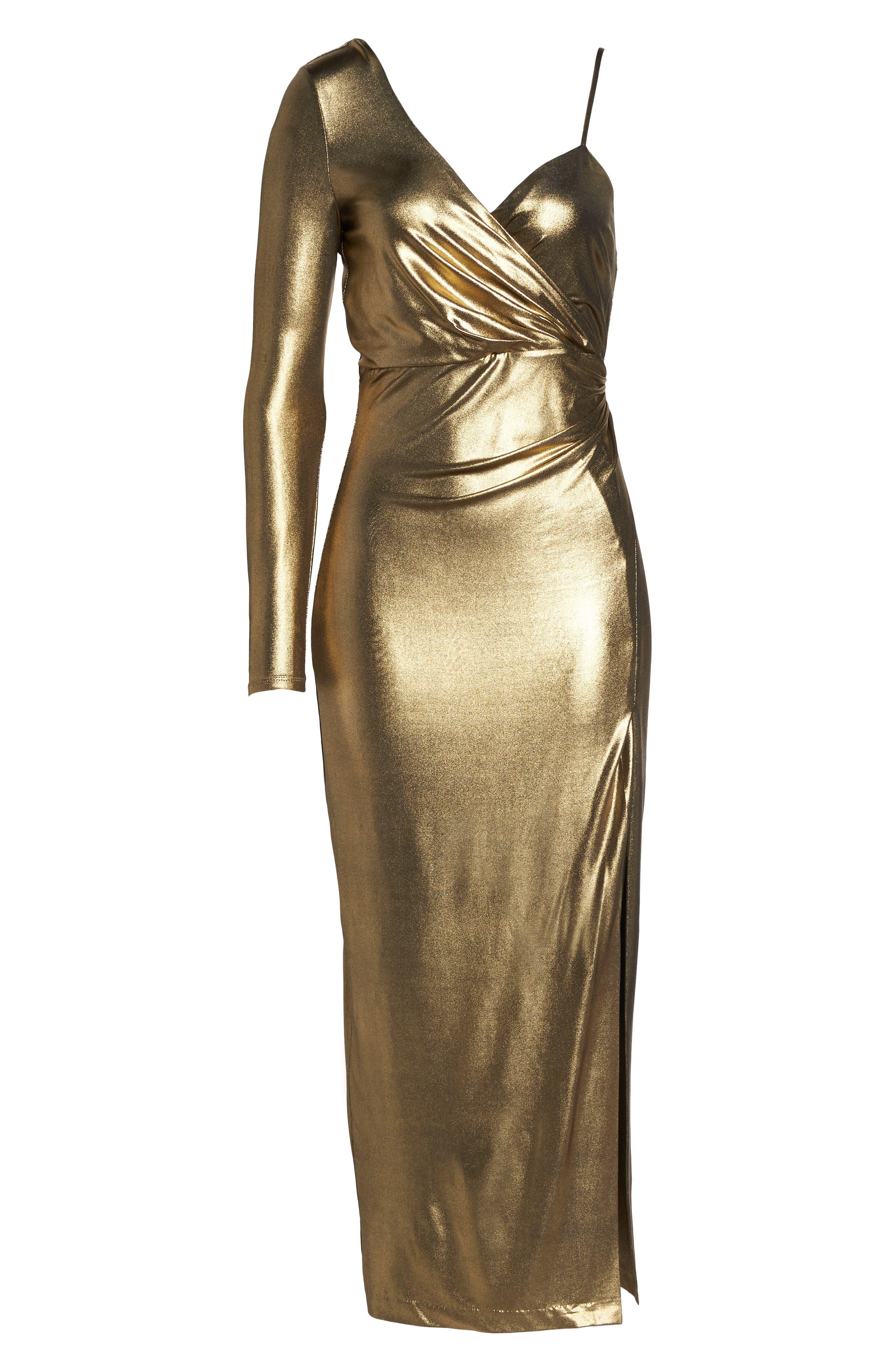 Aurel Metallic Dress,                             Alternate thumbnail 6, color,                             Golden
