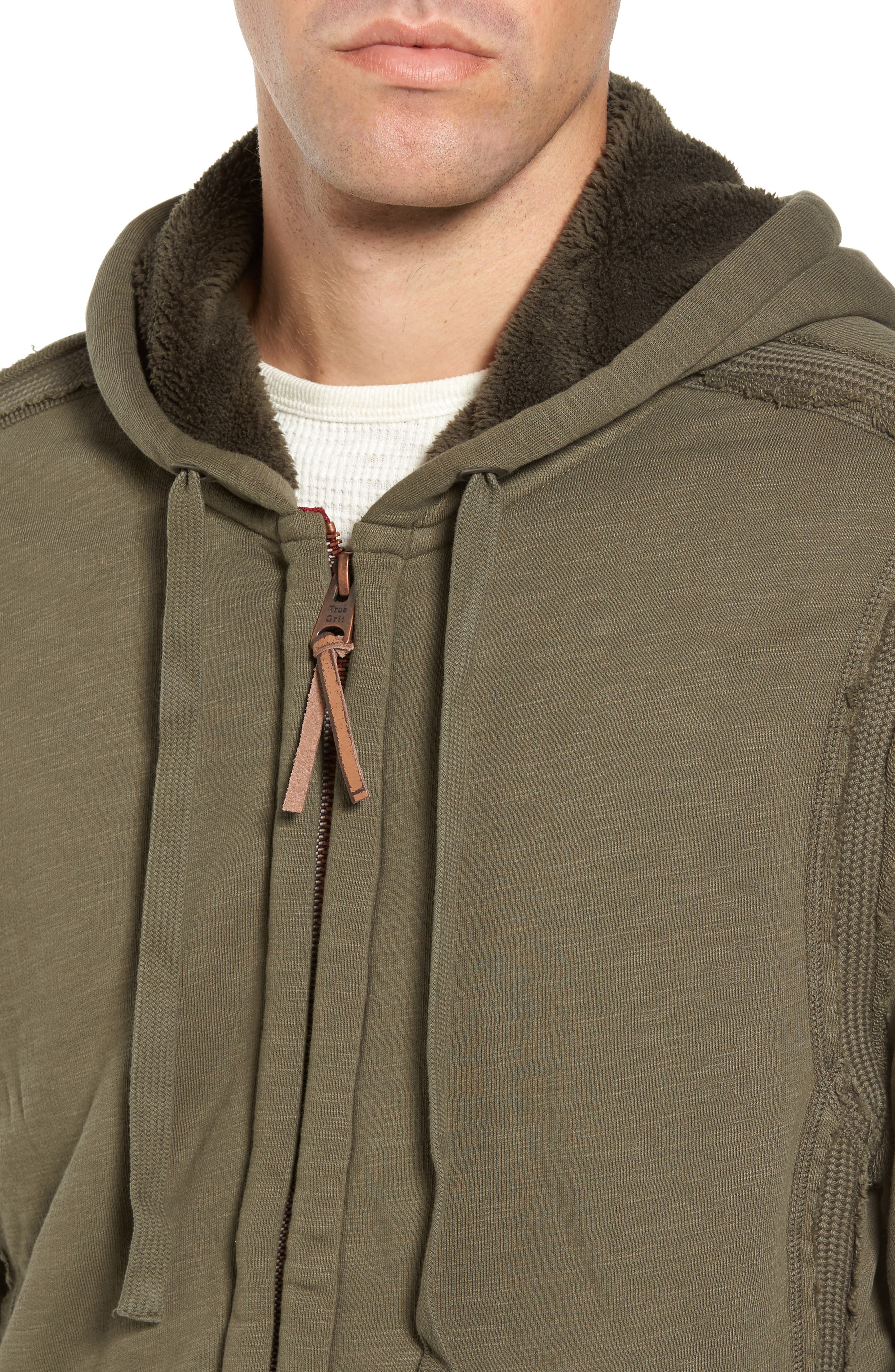 Frosty Pile Zip Front Hoodie,                             Alternate thumbnail 4, color,                             Vintage Olive