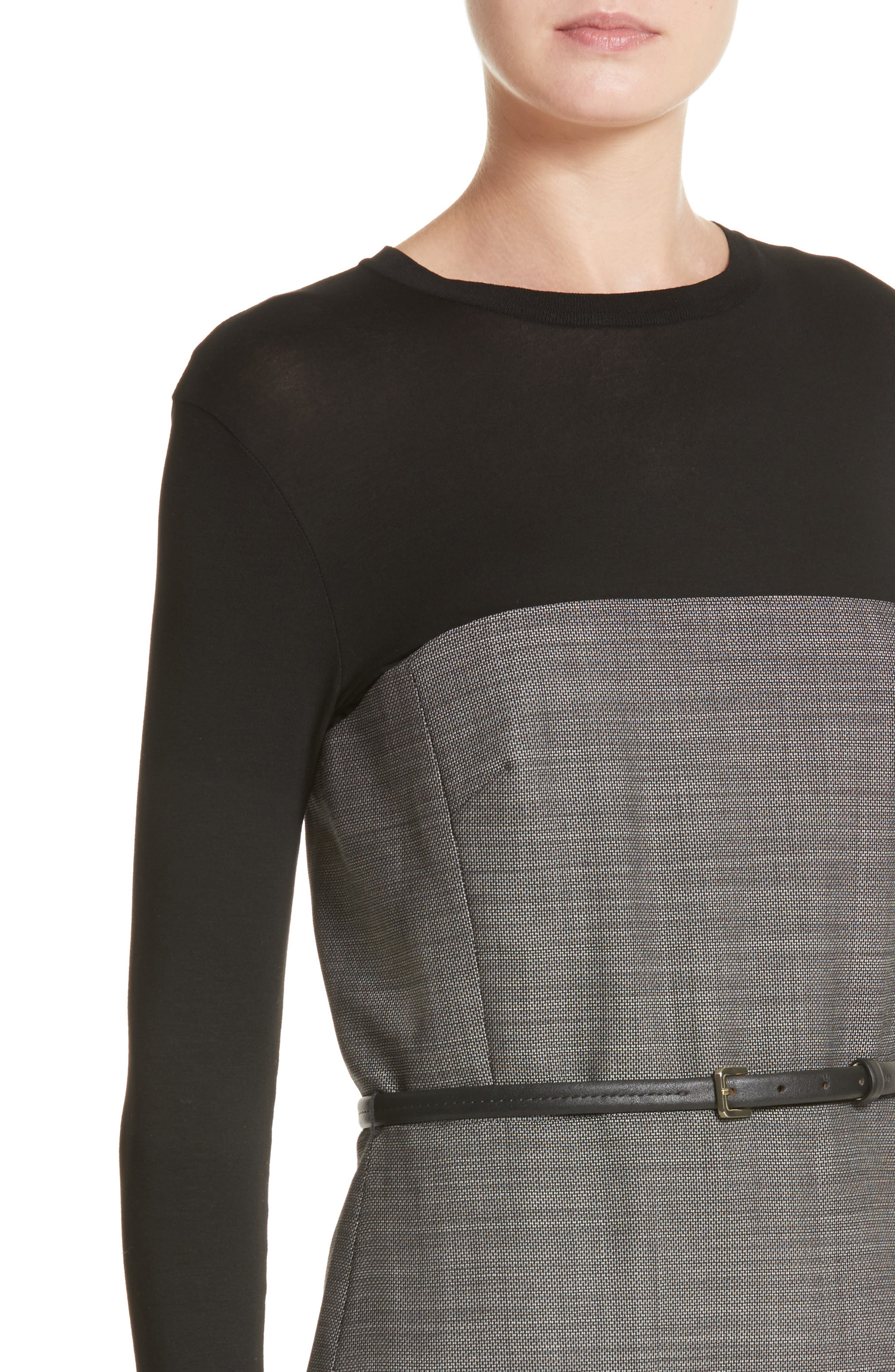 Canapa Stretch Wool Layered Sheath Dress,                             Alternate thumbnail 4, color,                             Black