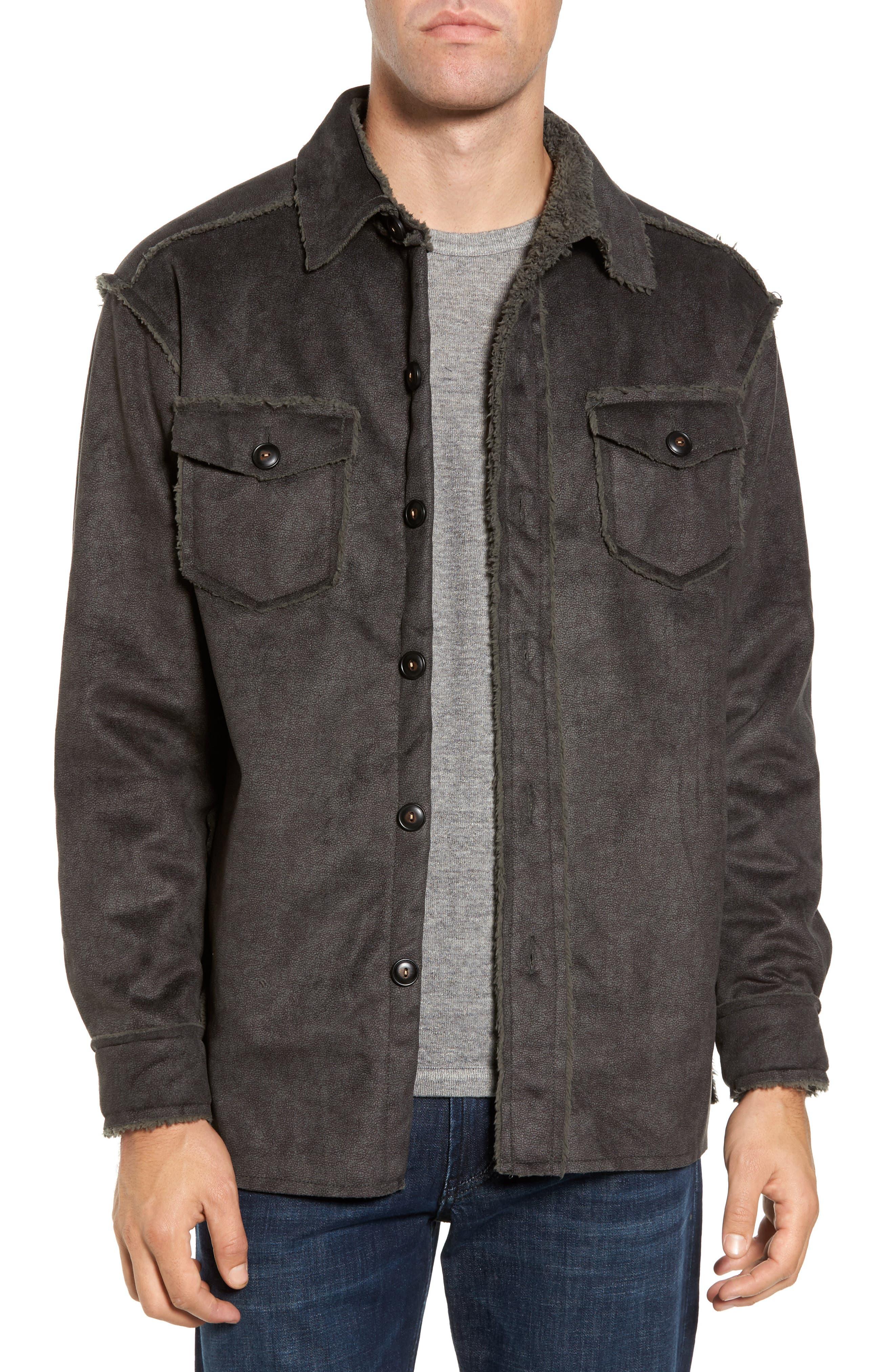 Faux Shearling & Faux Suede Shirt Jacket,                         Main,                         color, Vintage Olive
