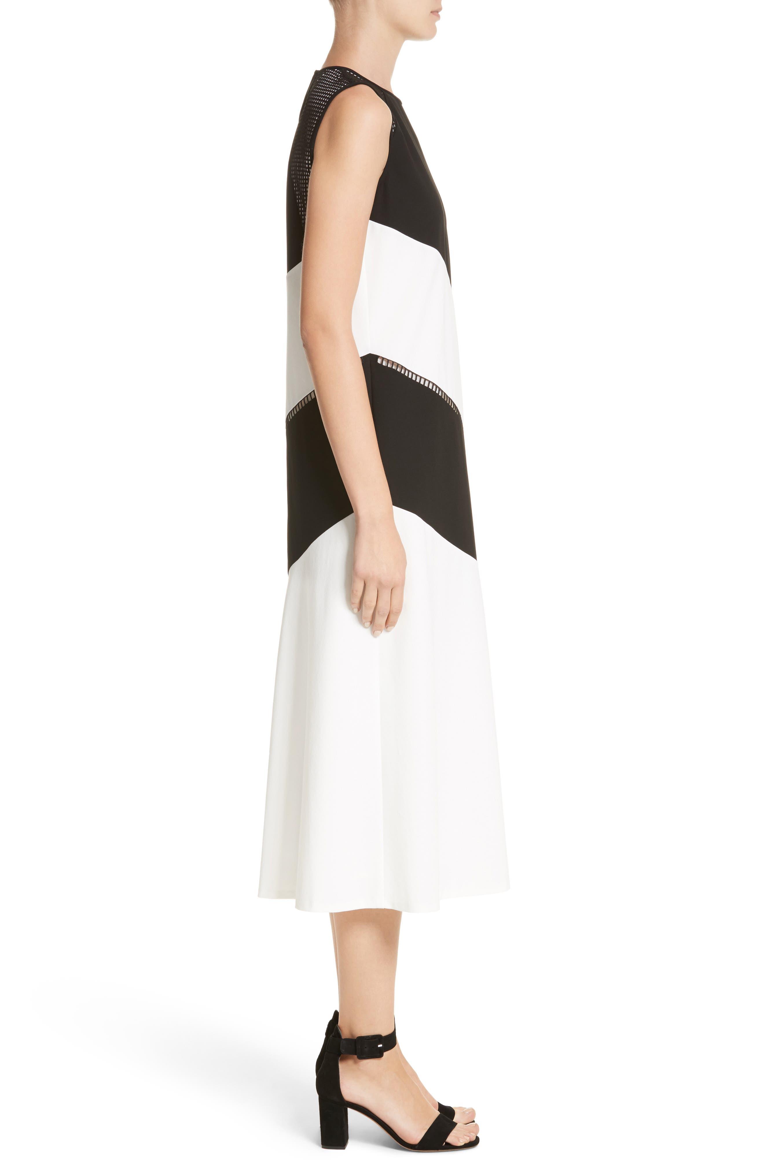 Nuri Laser Cut Midi Dress,                             Alternate thumbnail 3, color,                             Black/Cloud