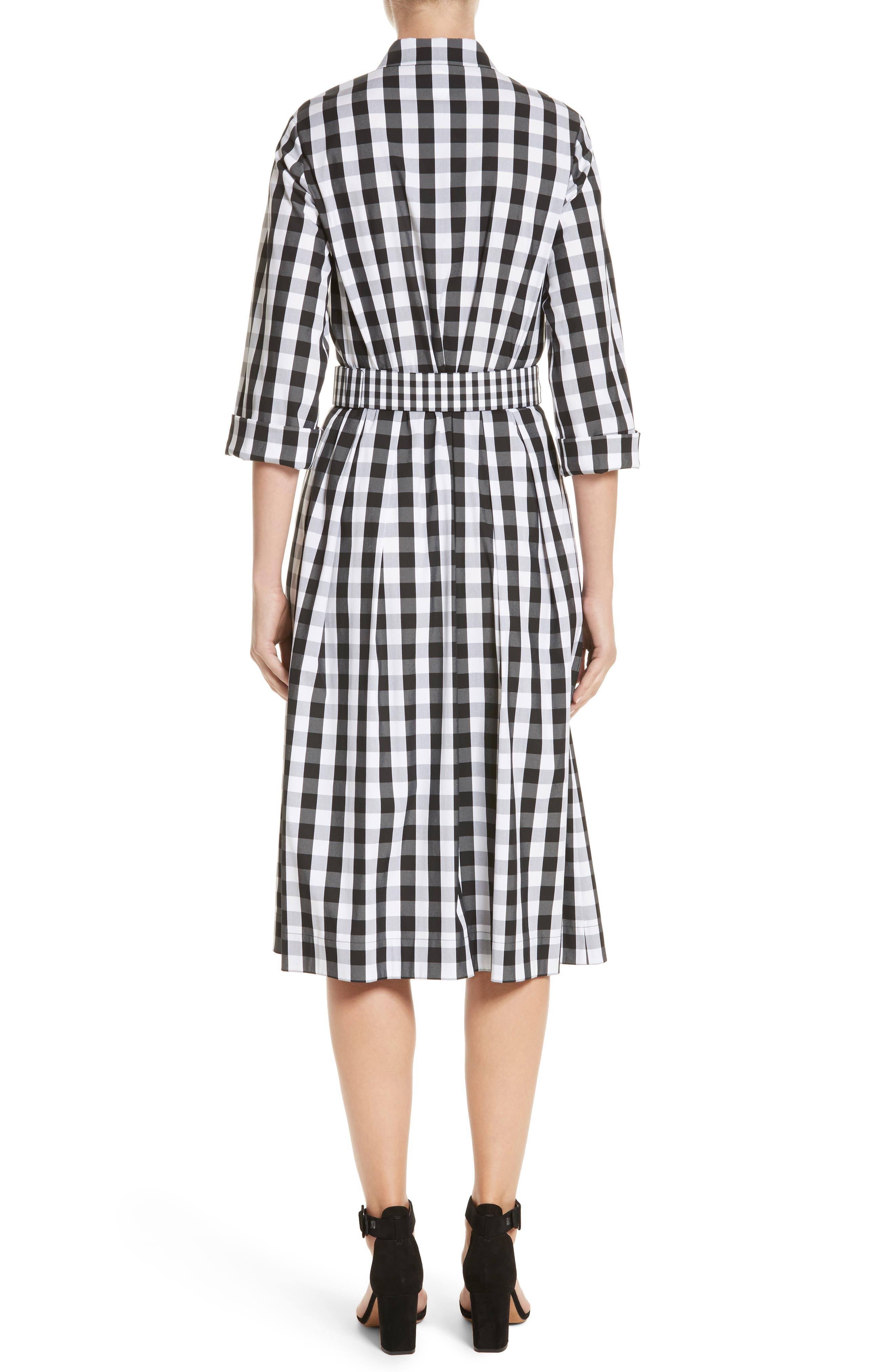 Eleni Gingham Shirtdress,                             Alternate thumbnail 2, color,                             Black Multi