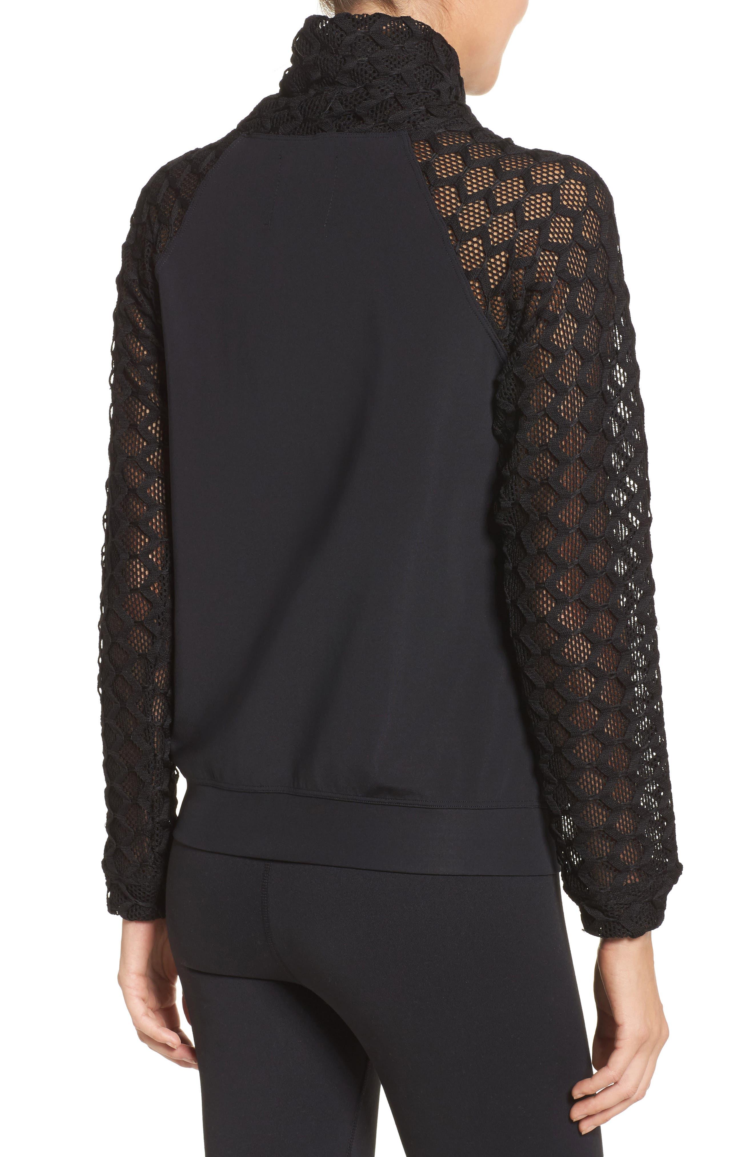 Mesh Sleeve Funnel Neck Pullover,                             Alternate thumbnail 2, color,                             Black