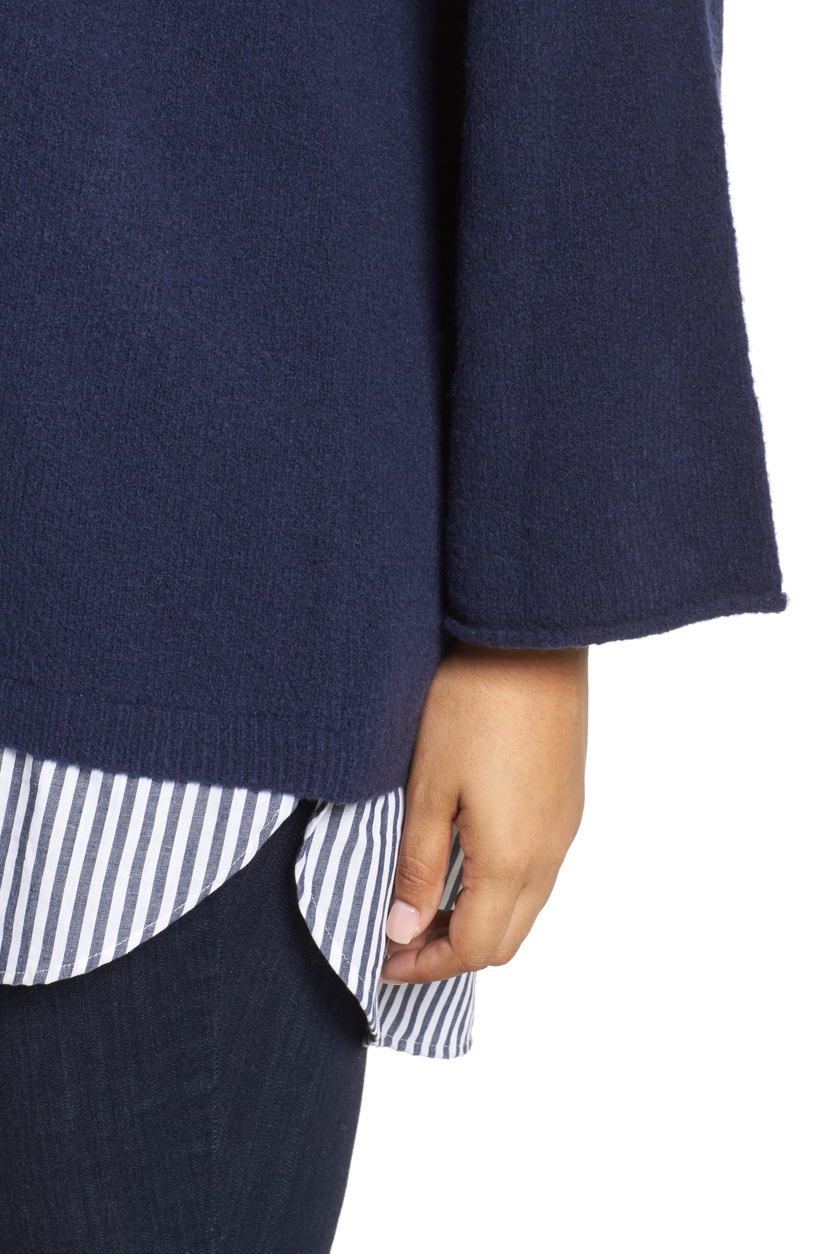 Cozy Layered Sweater,                             Alternate thumbnail 4, color,                             Navy Peacoat