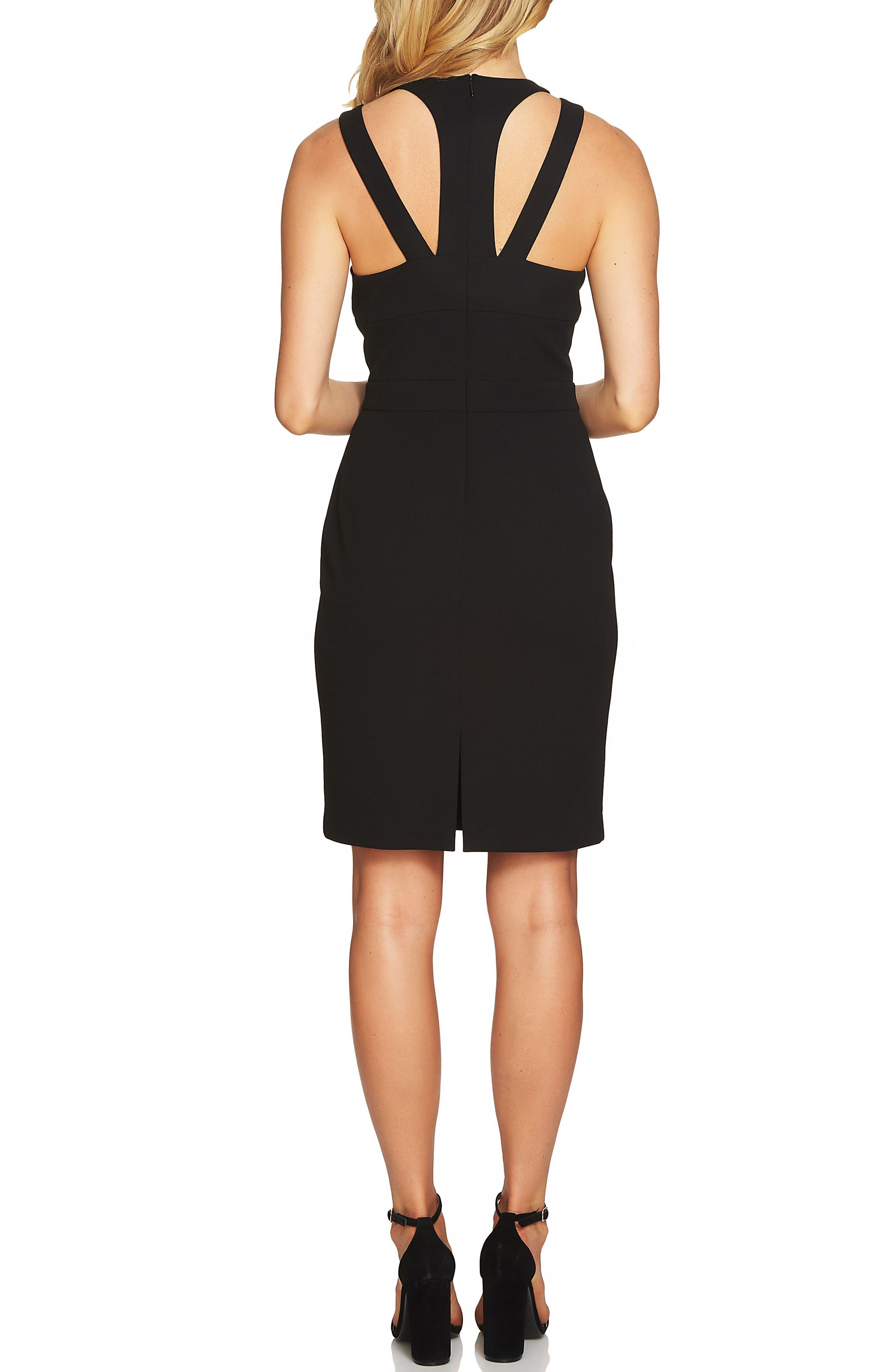 Cutout Cross Neck Sheath Dress,                             Alternate thumbnail 2, color,                             Rich Black