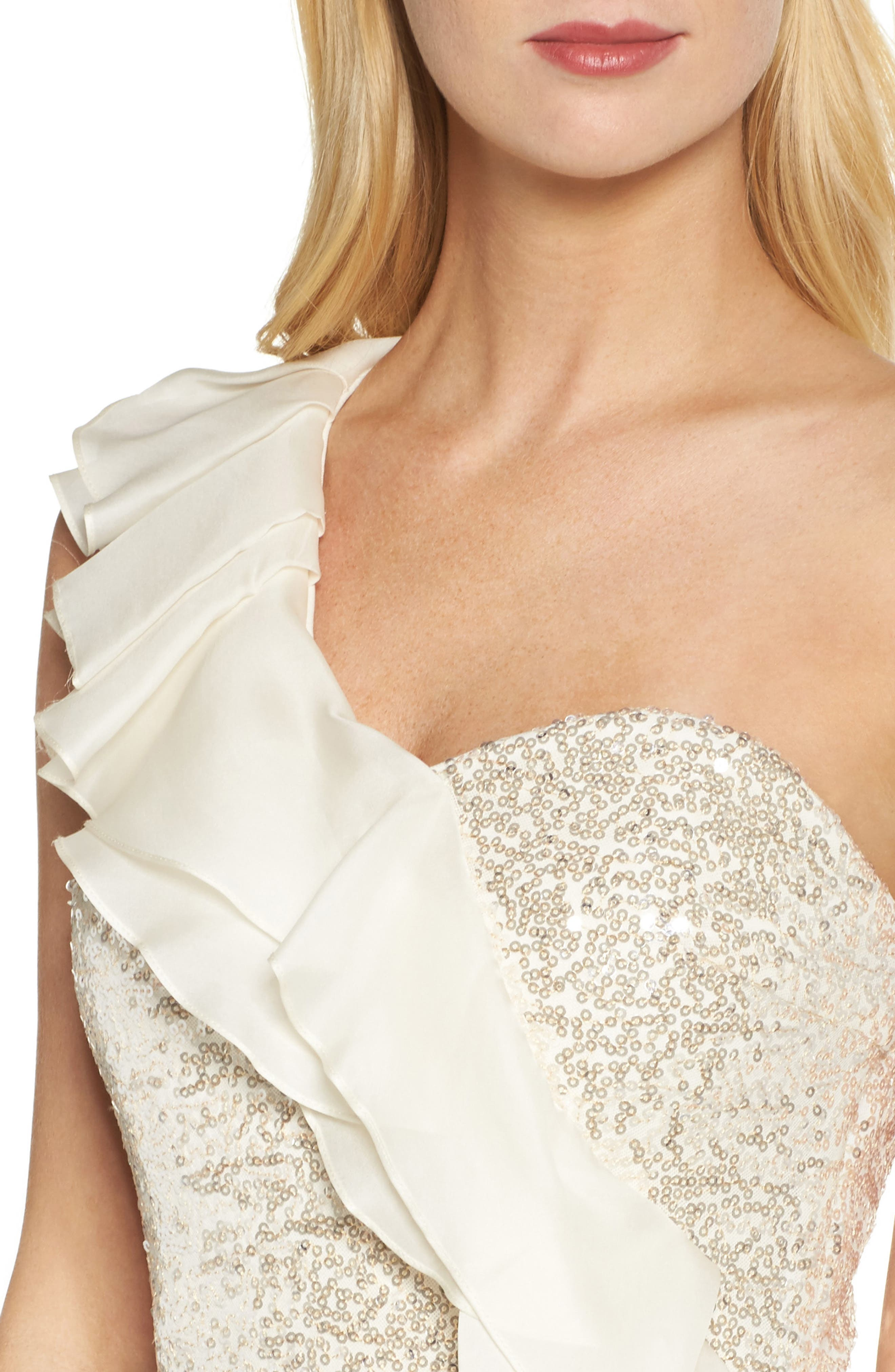 Ruffle Sequin One-Shoulder Gown,                             Alternate thumbnail 4, color,                             Champagne