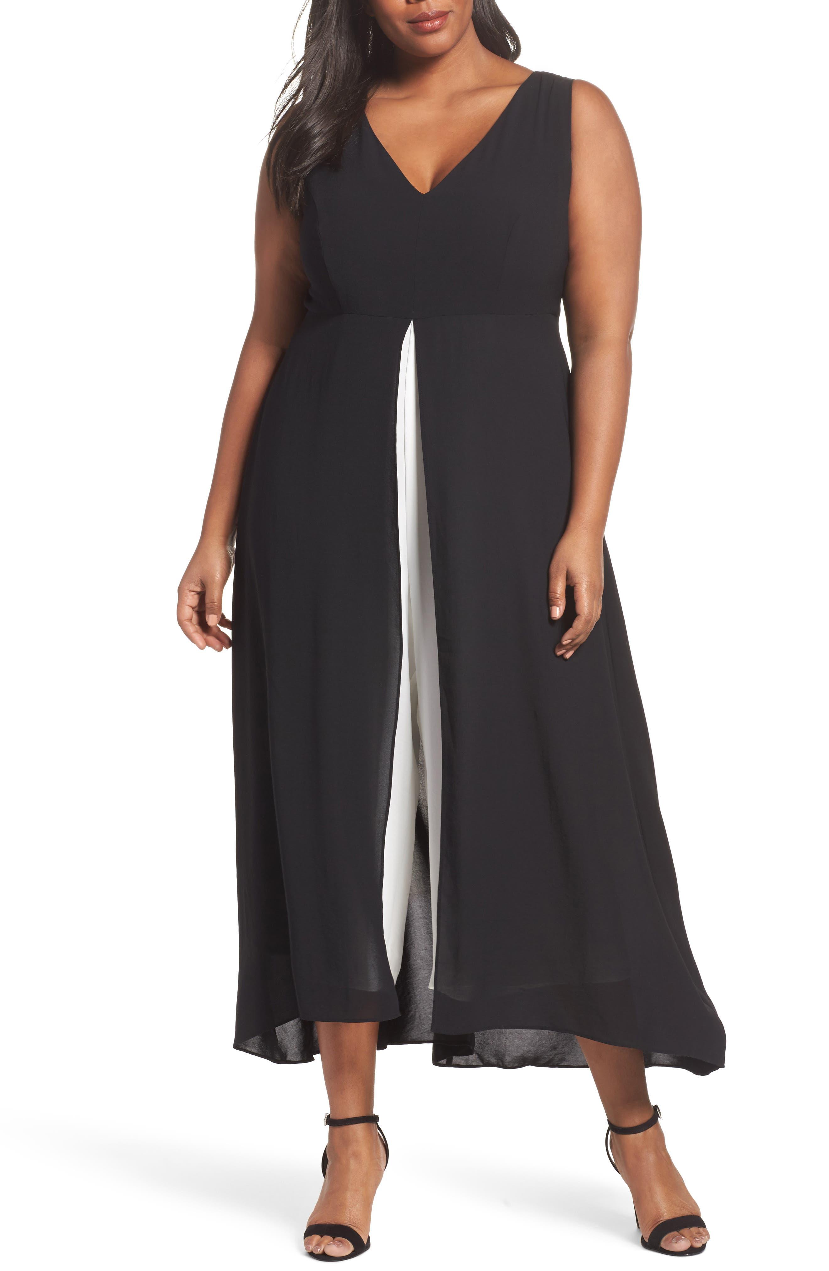 Colorblock V-Neck Jumpsuit,                         Main,                         color, Black/ Ivory