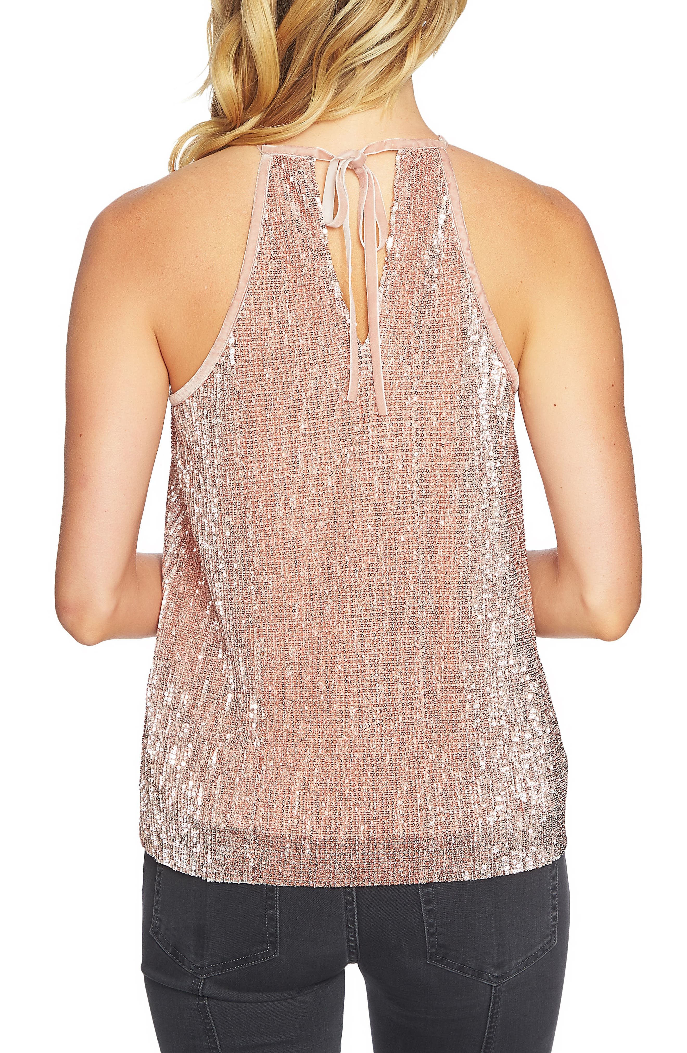 Sequin Halter Camisole,                             Alternate thumbnail 2, color,                             Lustre Nude