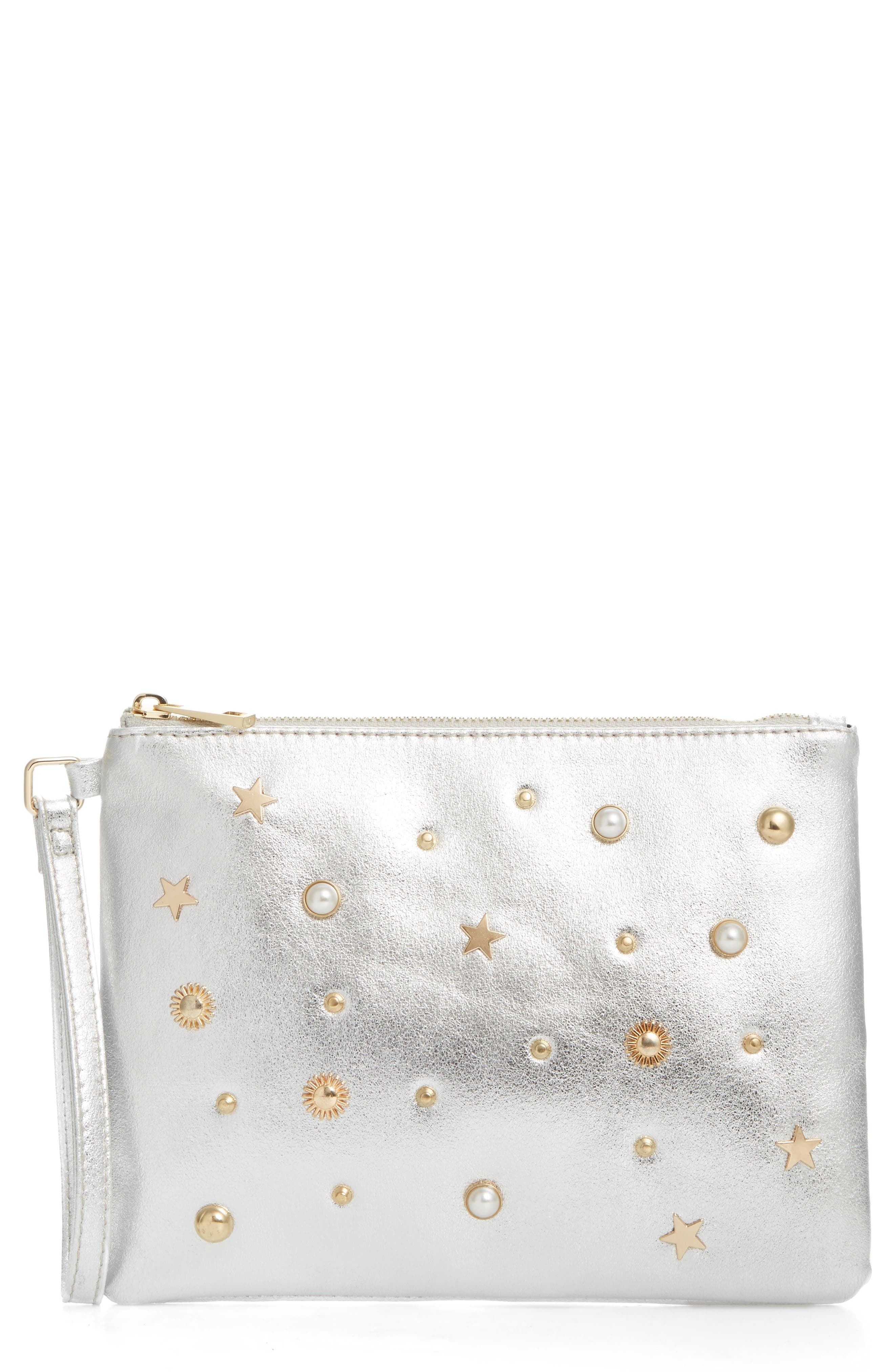 Street Leel Star Stud Faux Leather Clutch