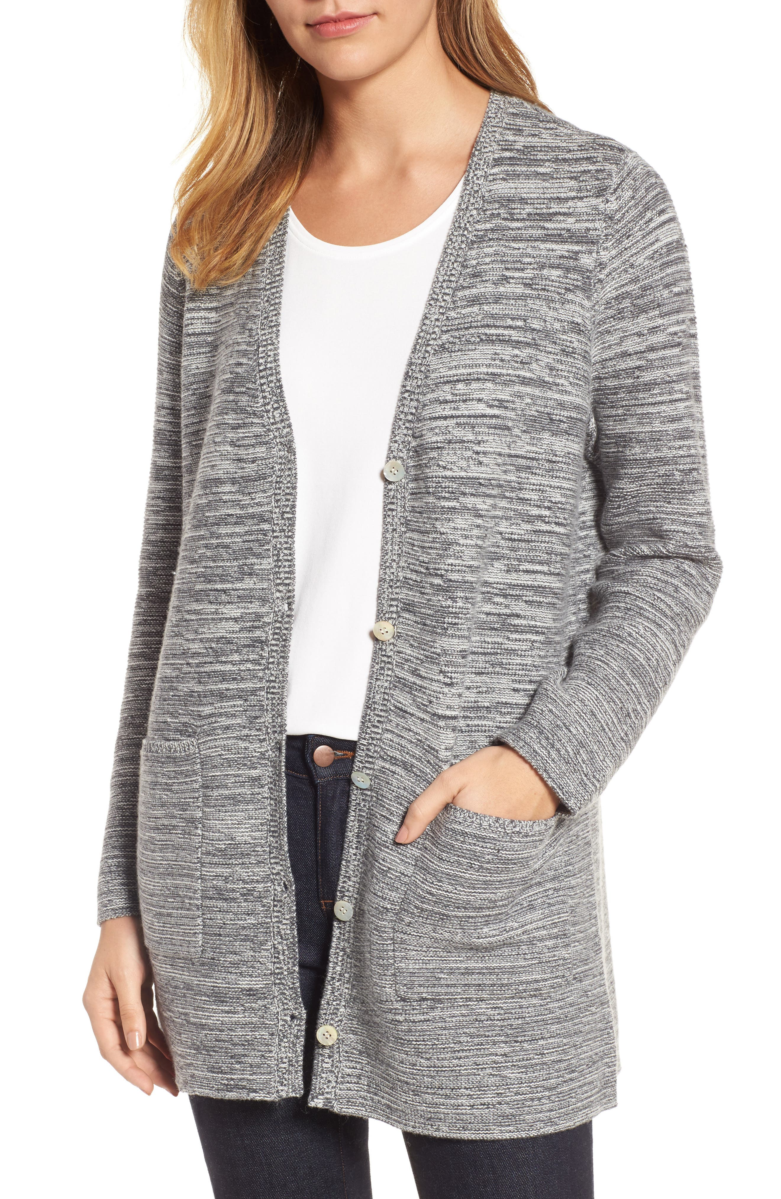 Alternate Image 1 Selected - Eileen Fisher Organic Cotton Blend Boyfriend Cardigan