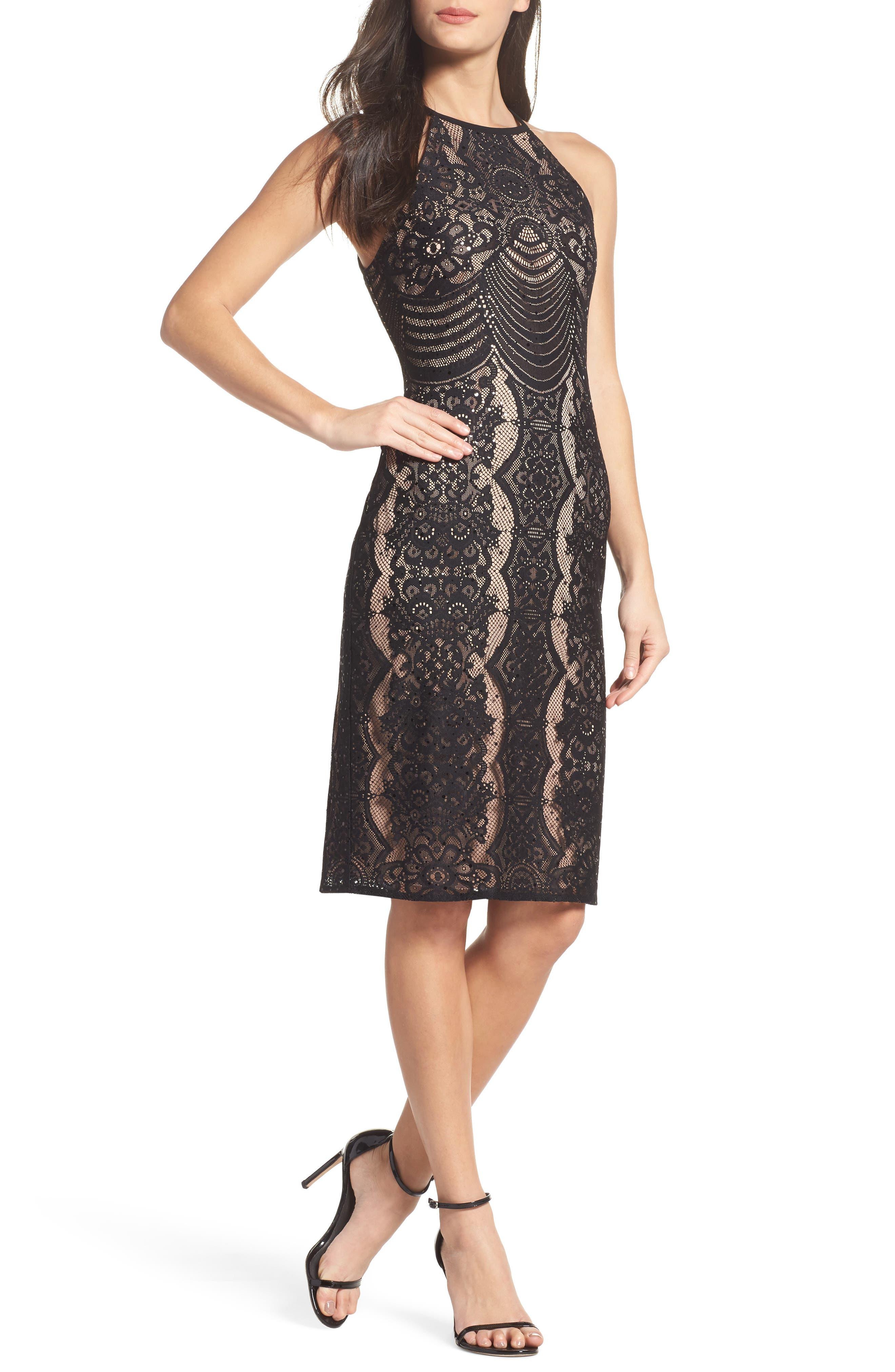 Morgan & Co. Lace Halter Sheath Dress