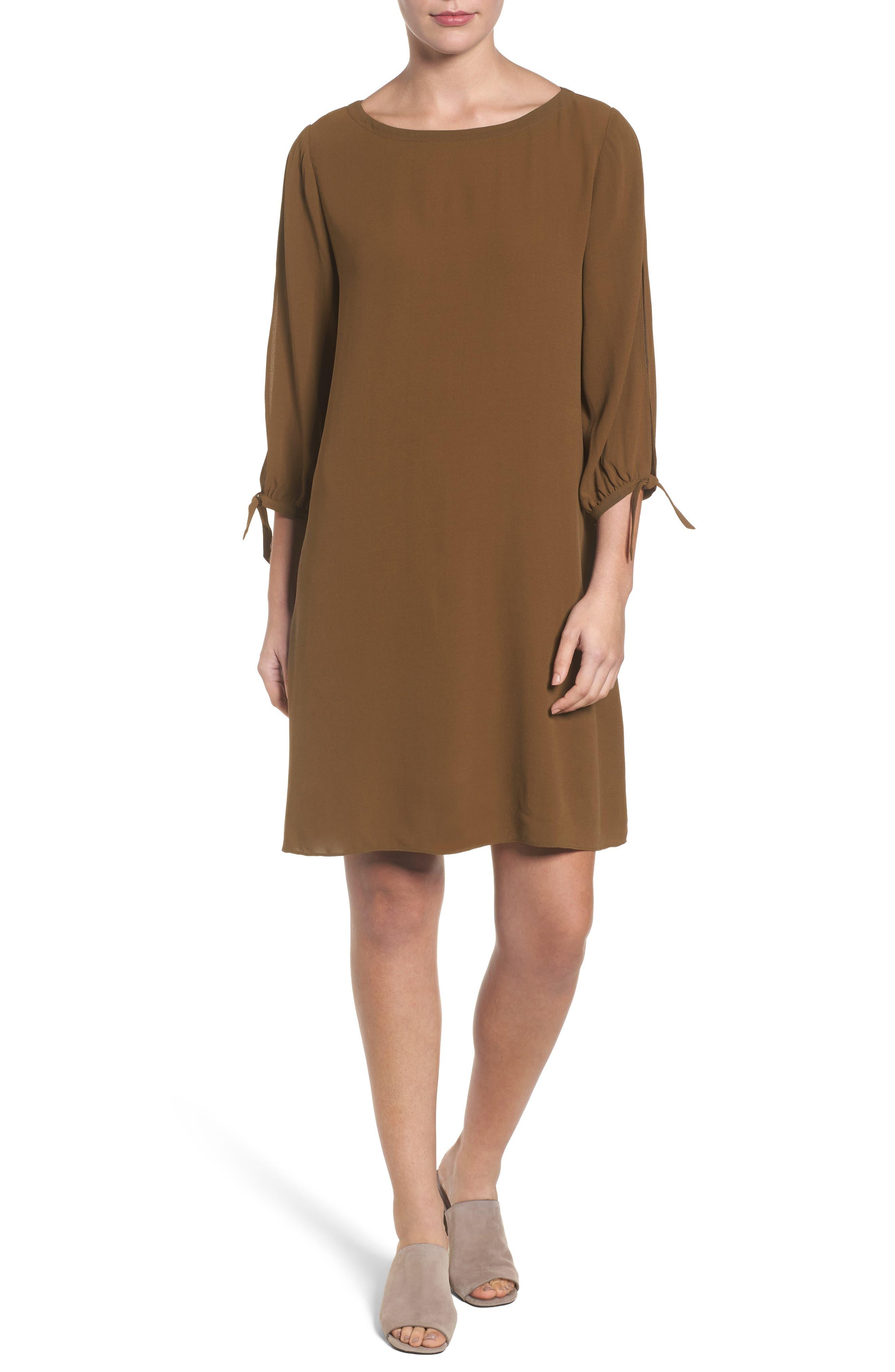Alternate Image 1 Selected - Eileen Fisher Silk Shift Dress (Regular & Petite)