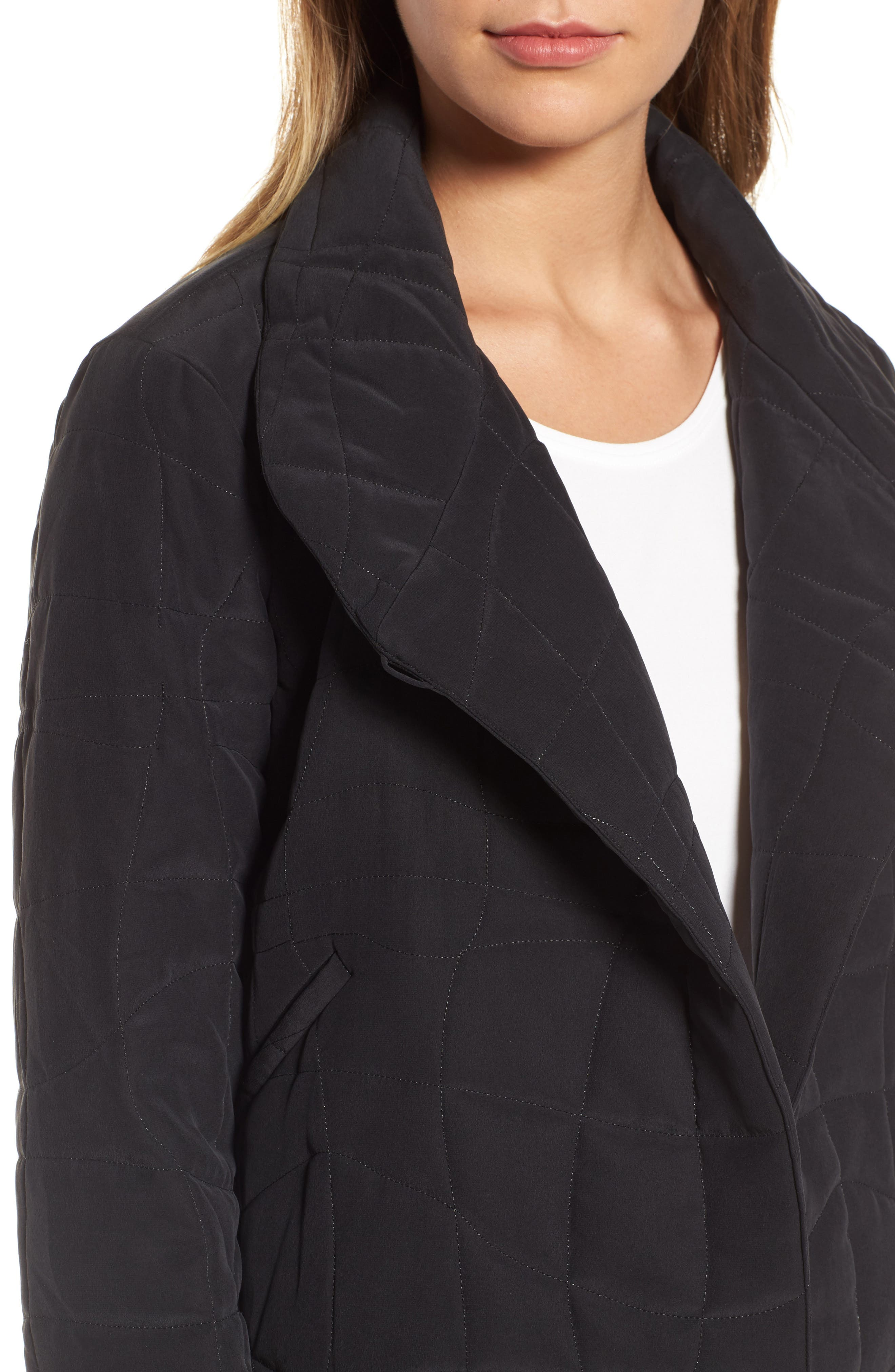 Quilted Silk Crop Jacket,                             Alternate thumbnail 4, color,                             Black