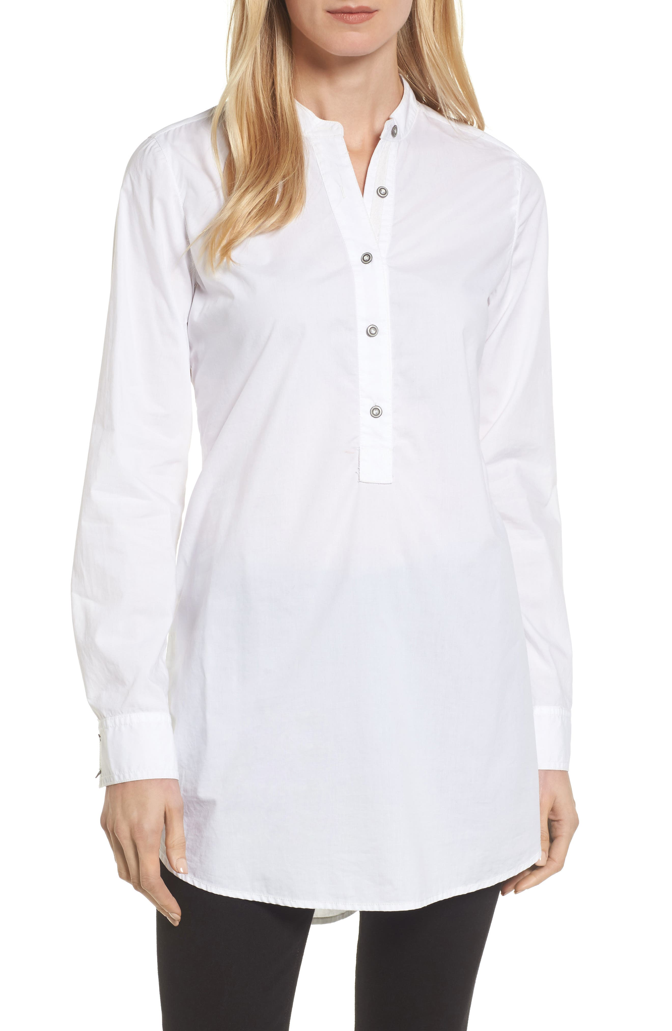 Popover Tunic Shirt,                         Main,                         color, White