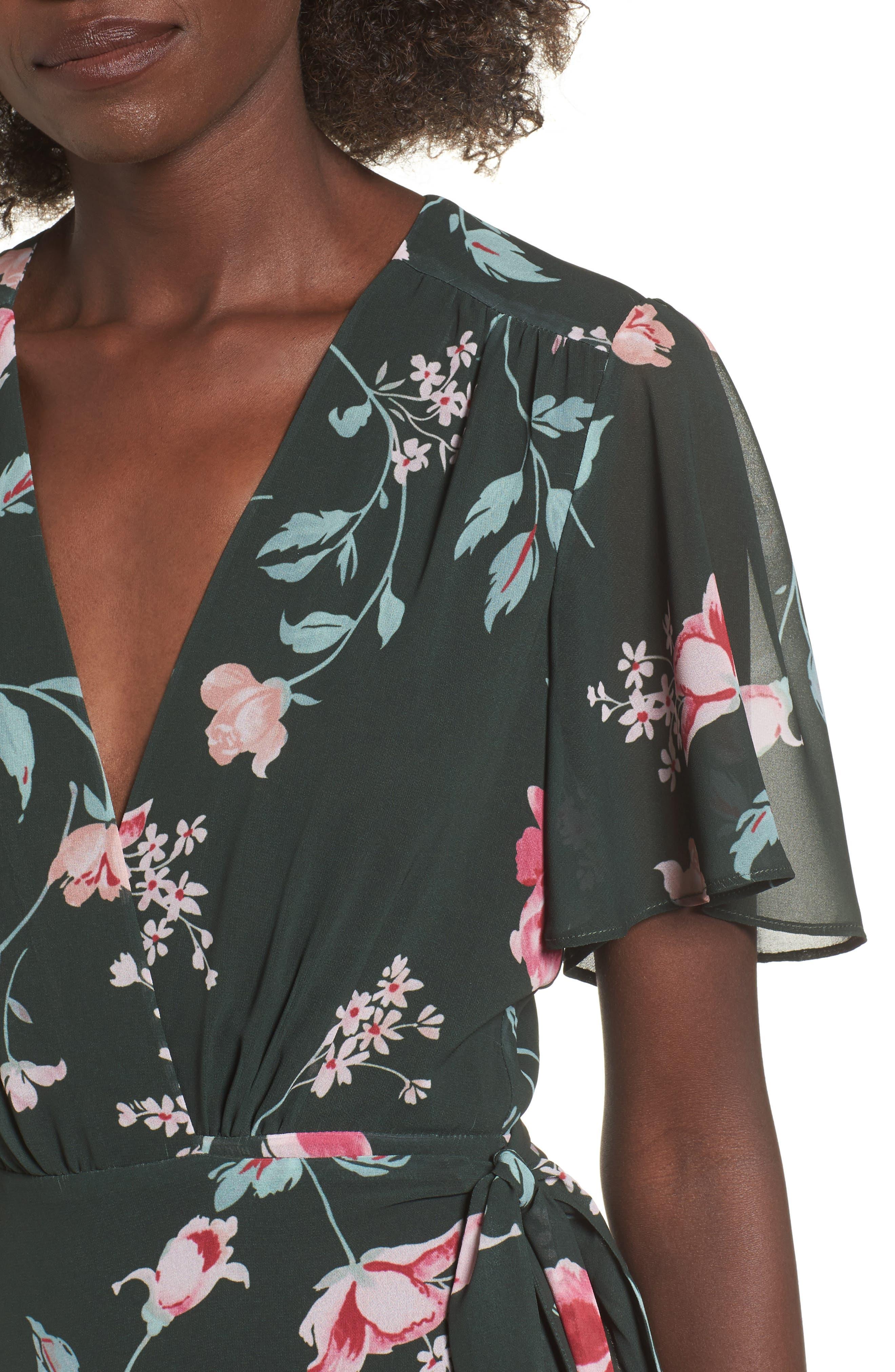 Plaza Kimono Maxi Dress,                             Alternate thumbnail 4, color,                             Evergreen Floral
