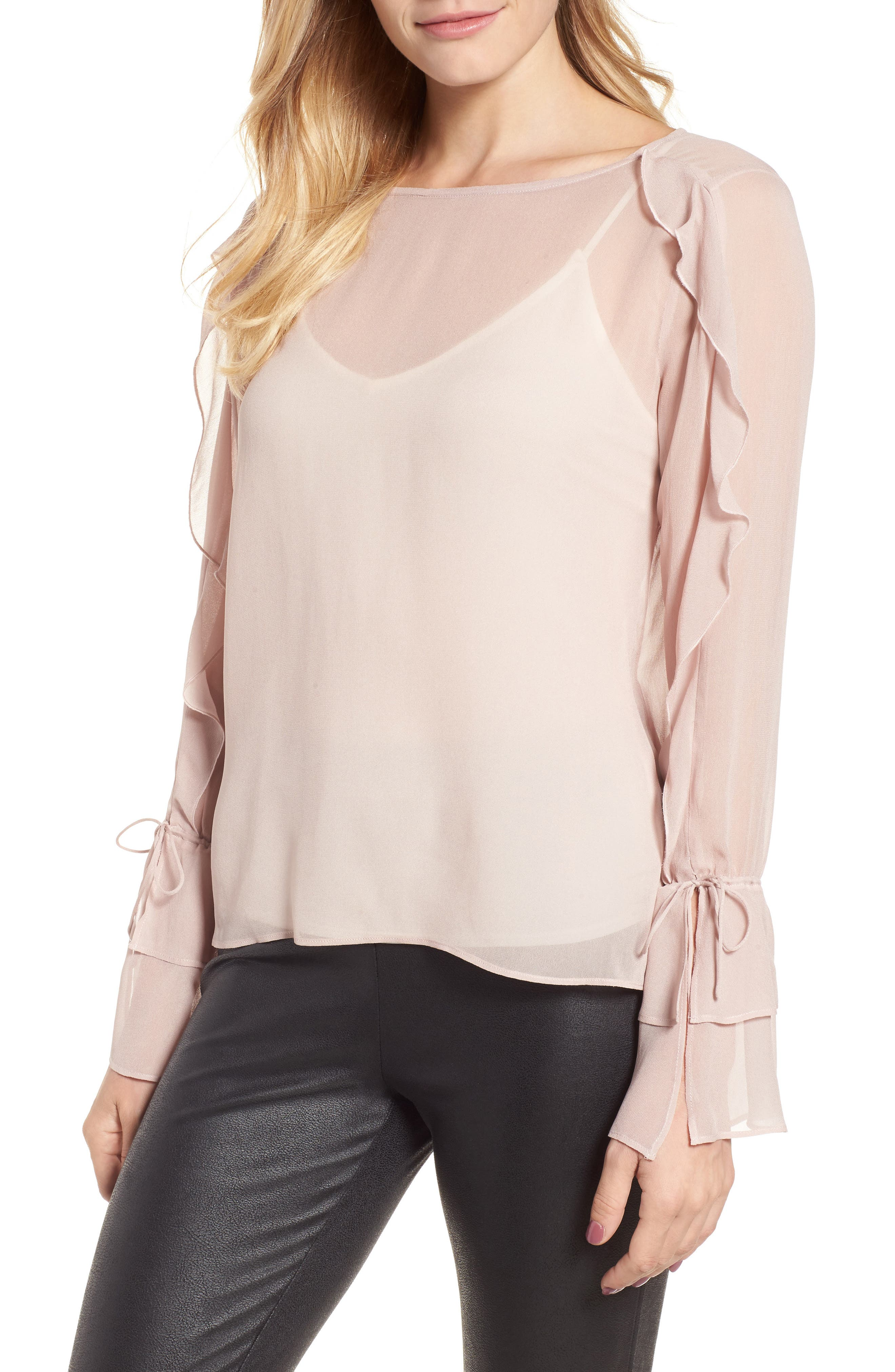 Alternate Image 1 Selected - Lucky Brand Tie Sleeve Ruffle Blouse