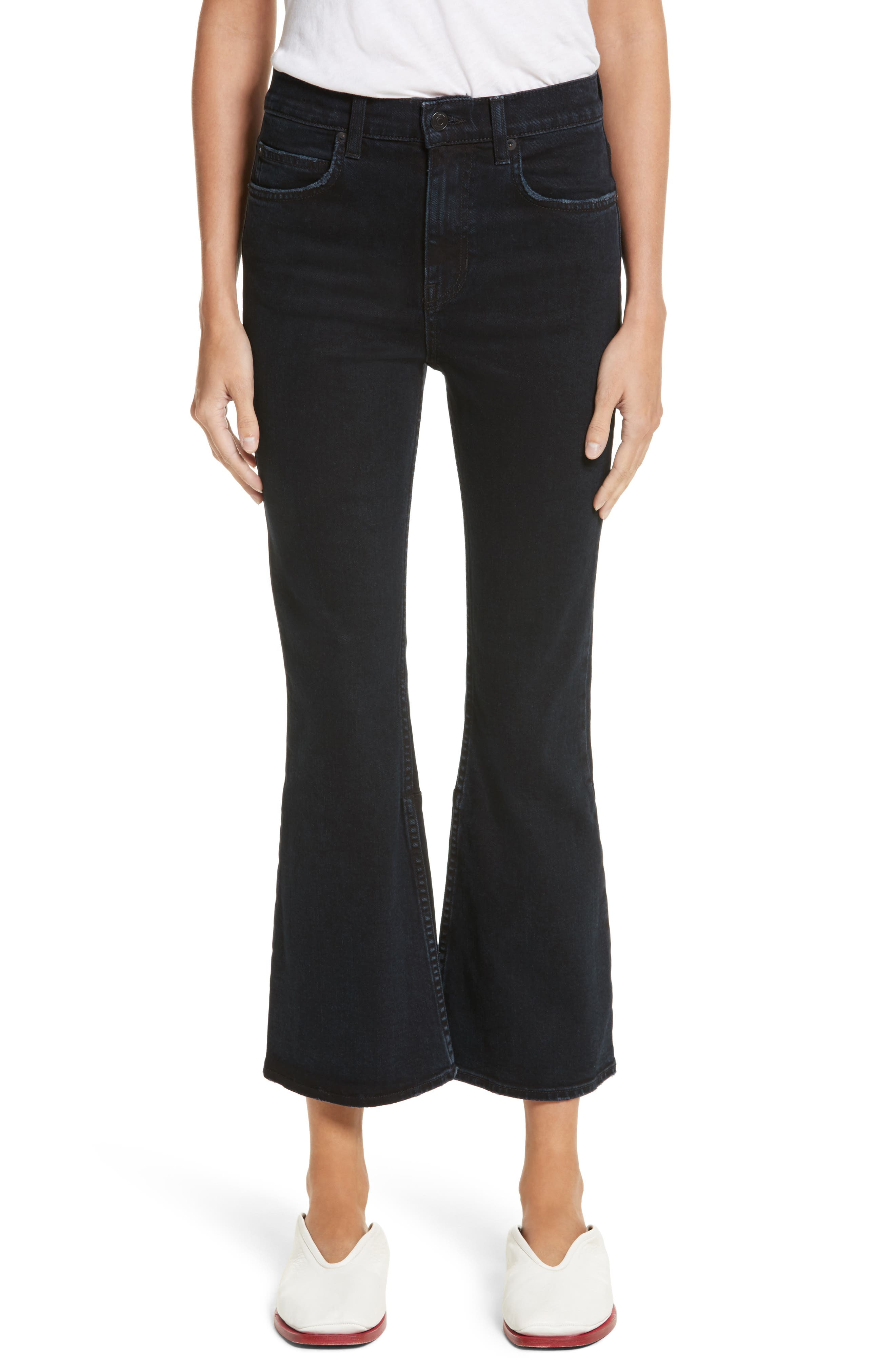 PSWL Crop Kick Flare Jeans,                         Main,                         color, Stone Washed Black