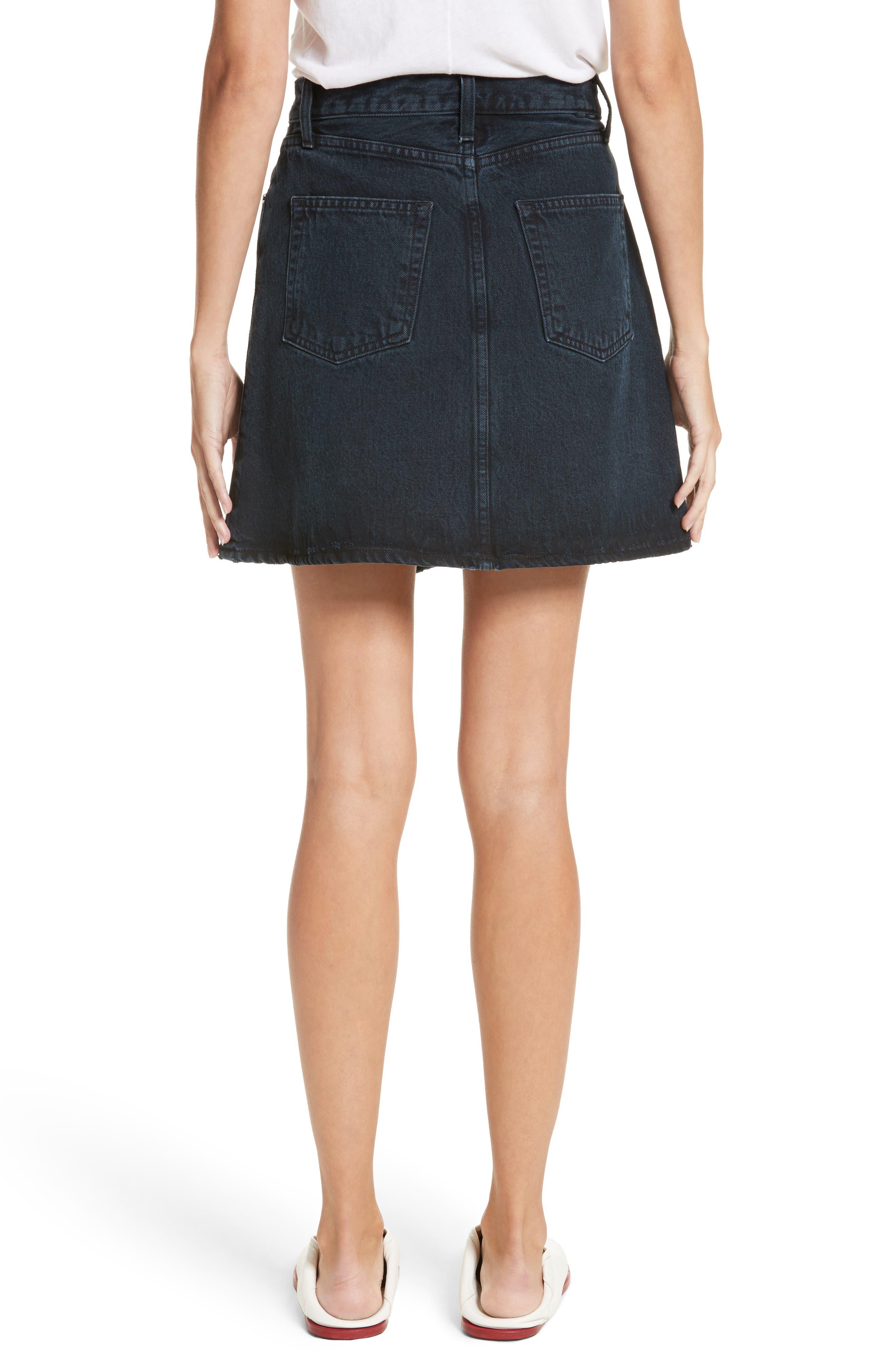 PSWL Folded Denim Skirt,                             Alternate thumbnail 2, color,                             Stone Washed Black