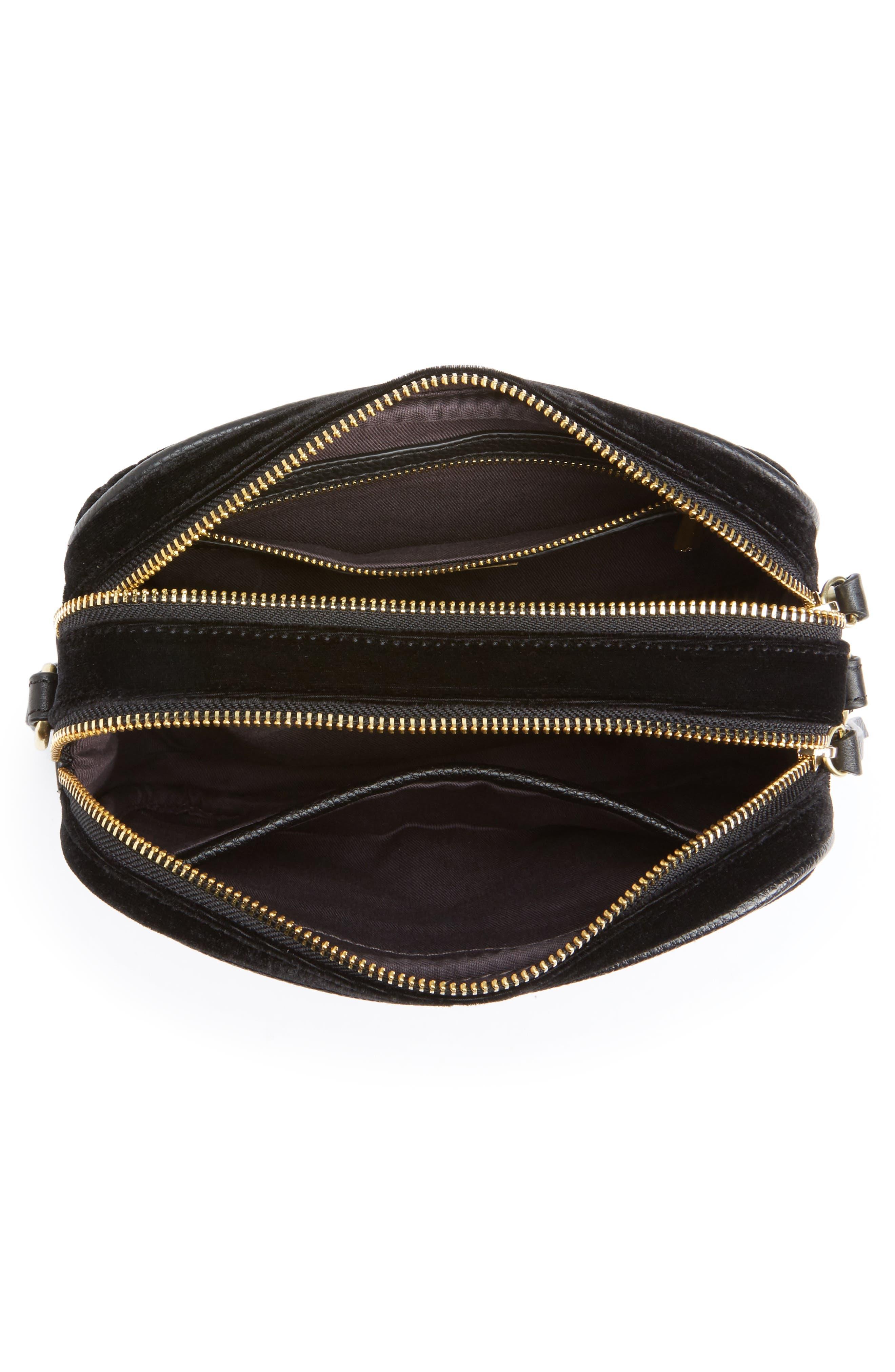 Perri Velvet Camera Crossbody Bag,                             Alternate thumbnail 3, color,                             Black Moon/ Star