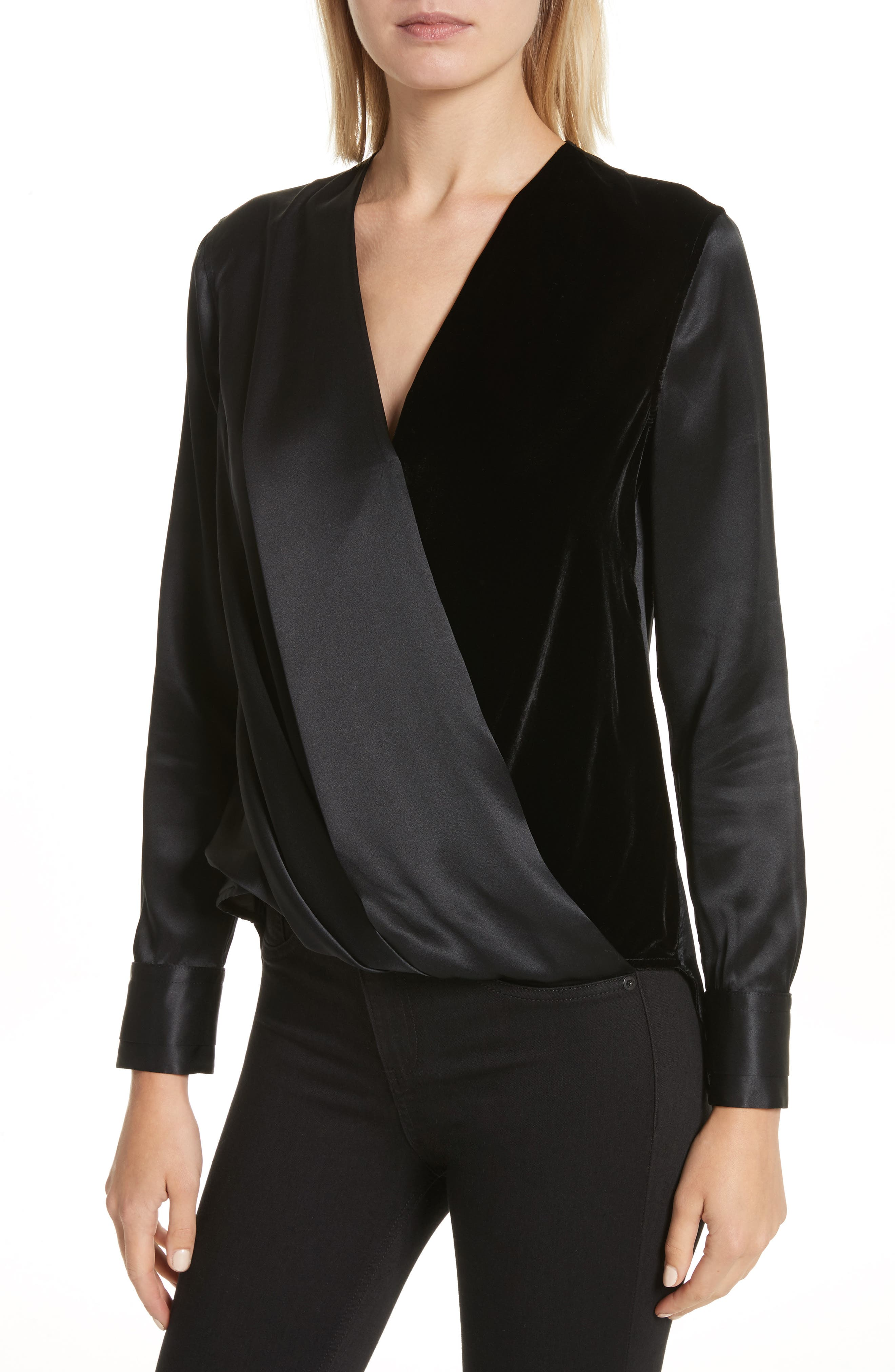 Victor Silk & Velvet Blouse,                             Alternate thumbnail 4, color,                             Black