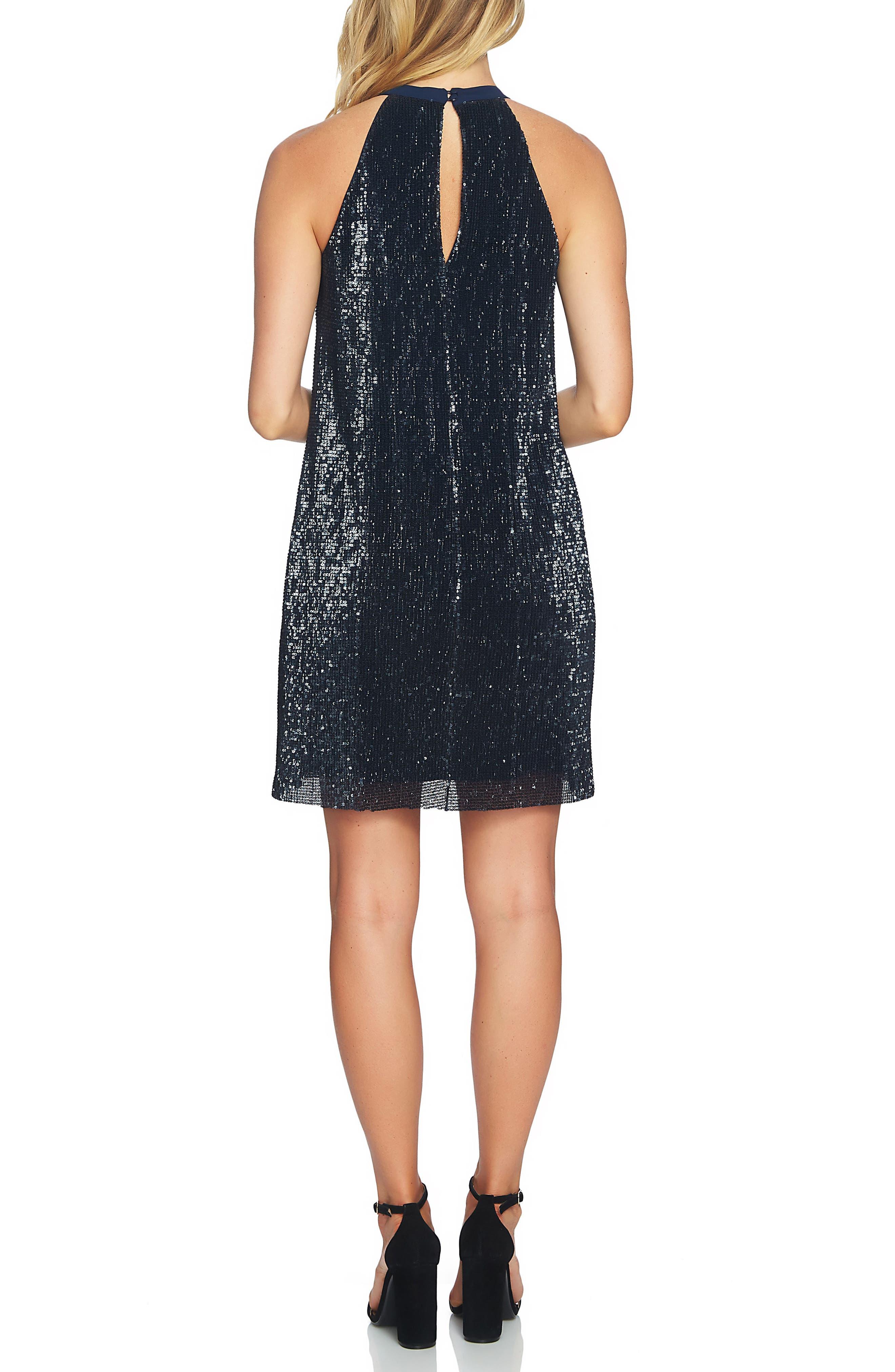 Sequin Halter Dress,                             Alternate thumbnail 2, color,                             Dark Nightfall
