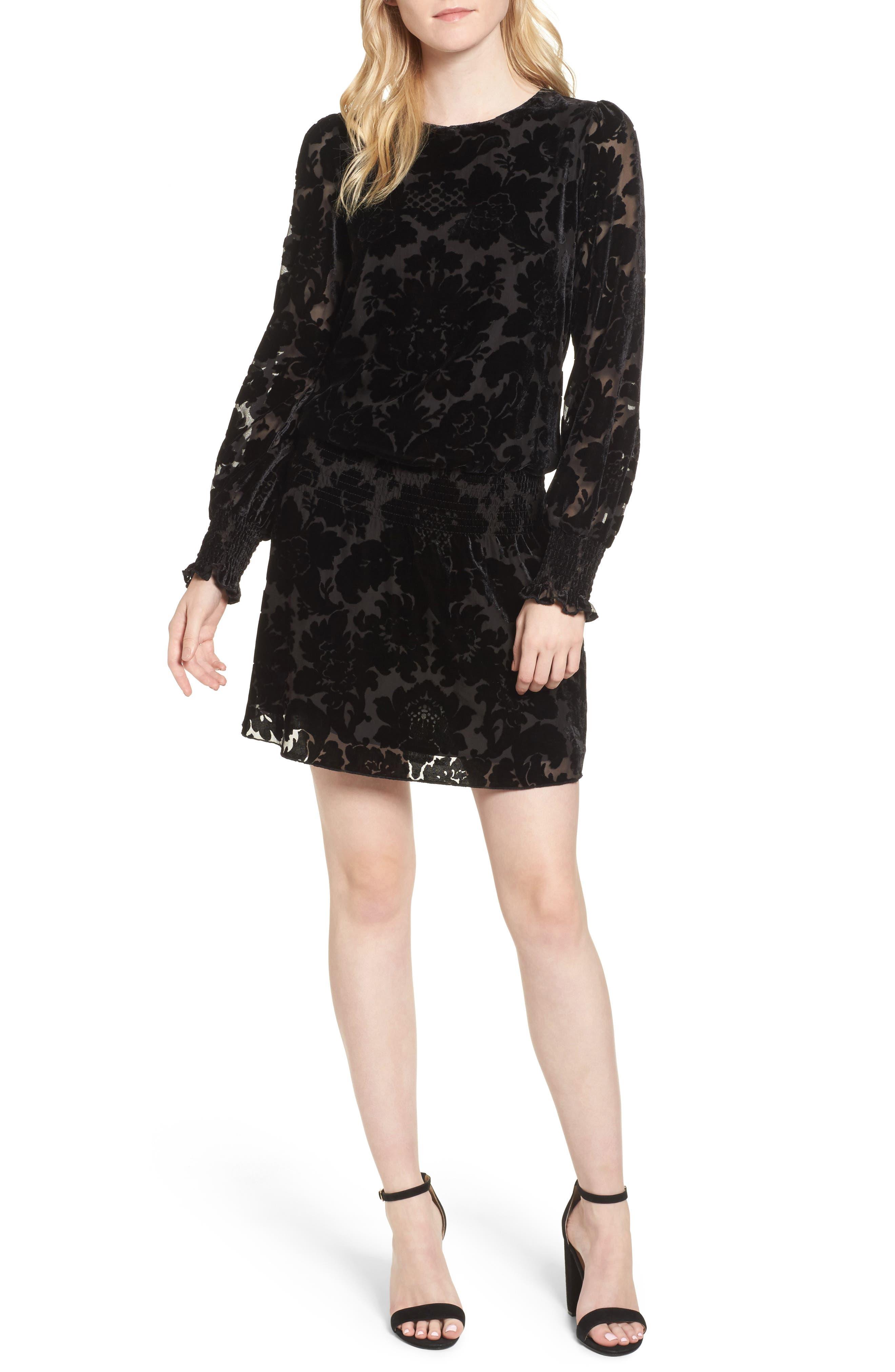 Carmindy Blouson Dress,                         Main,                         color, Black
