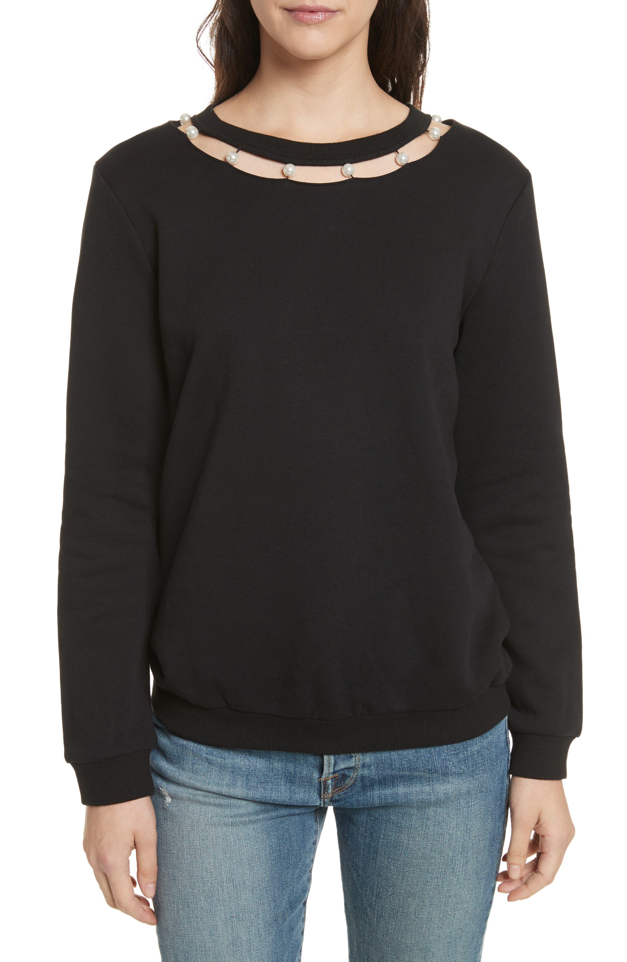 Rebecca Minkoff Imitation Pearl Neckline Sweatshirt