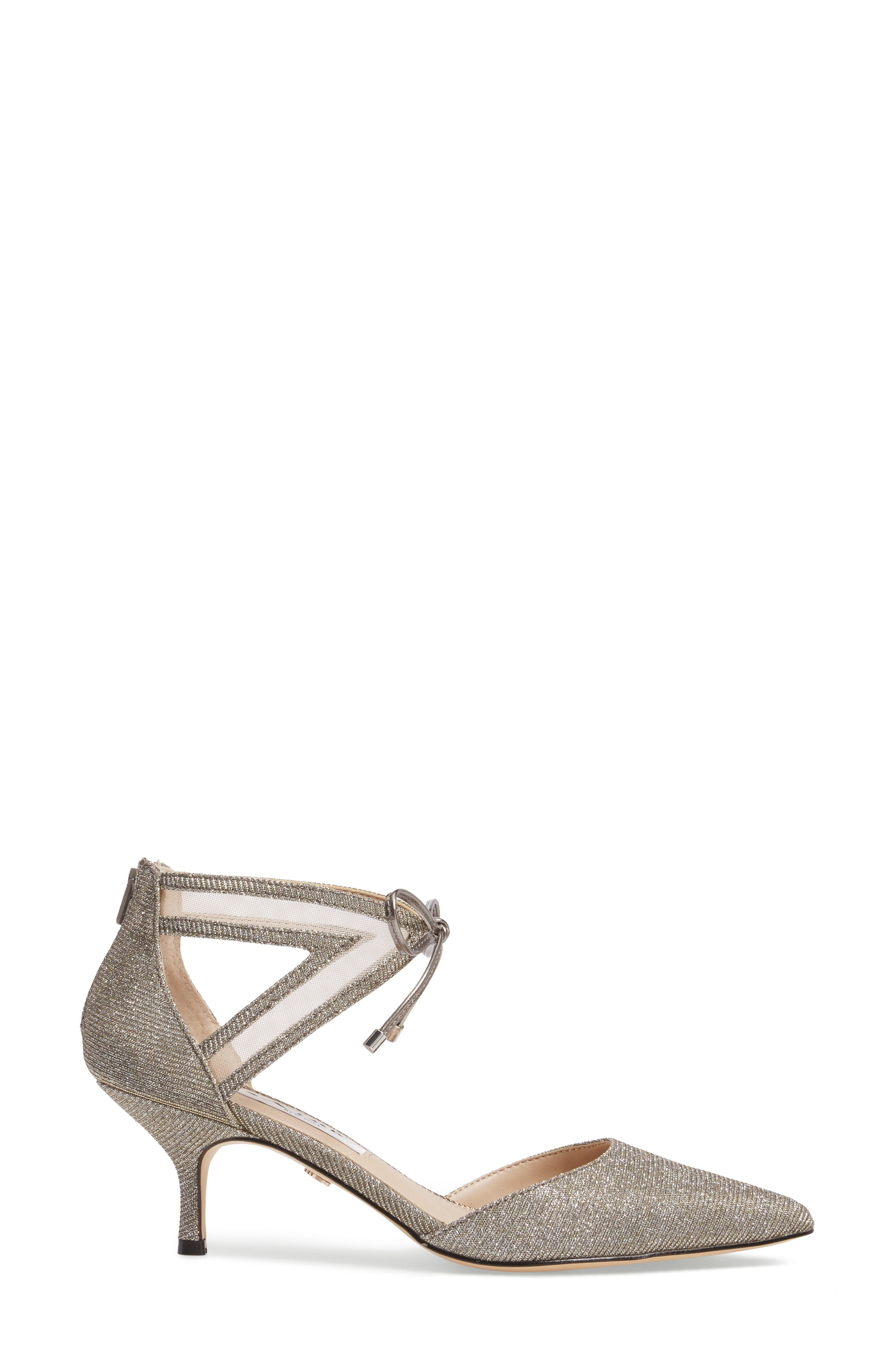 Talley Pointy Toe Pump,                             Alternate thumbnail 3, color,                             Steel/ Champ Metallic Fabric