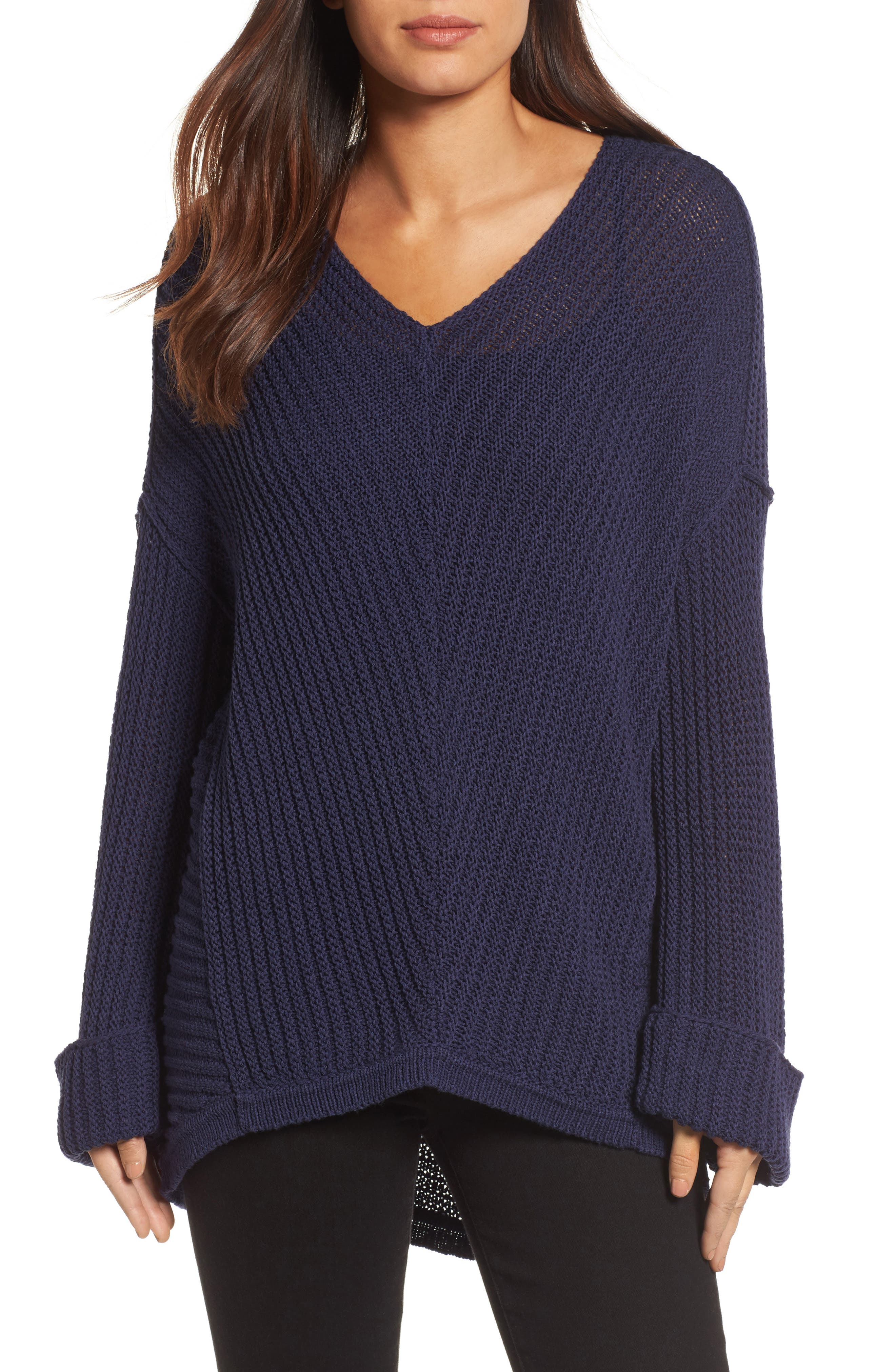 Caslon® Cuffed Sleeve Sweater (Regular & Petite)