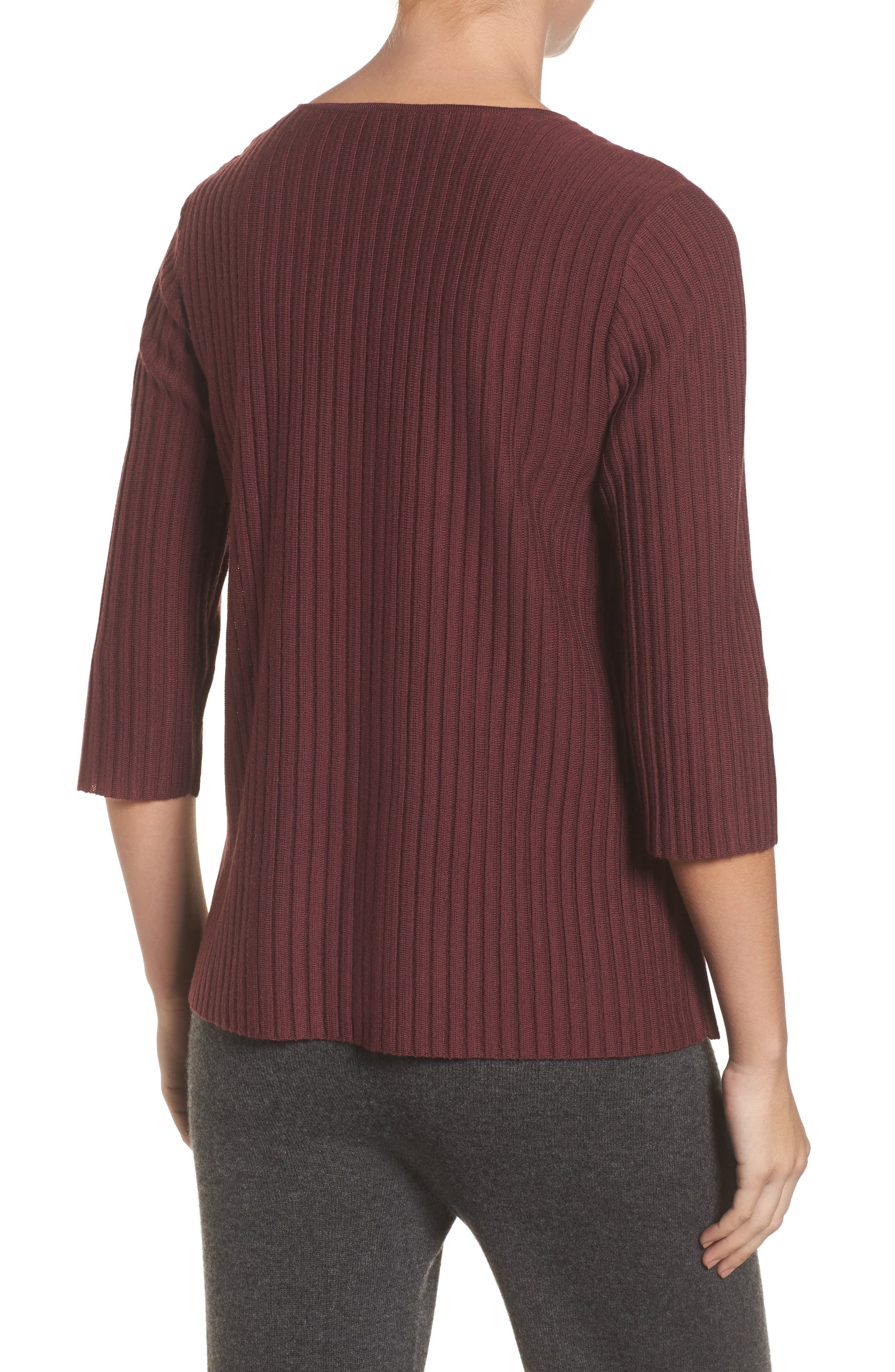Alternate Image 2  - Eileen Fisher Ribbed Merino Wool Sweater (Regular & Petite)