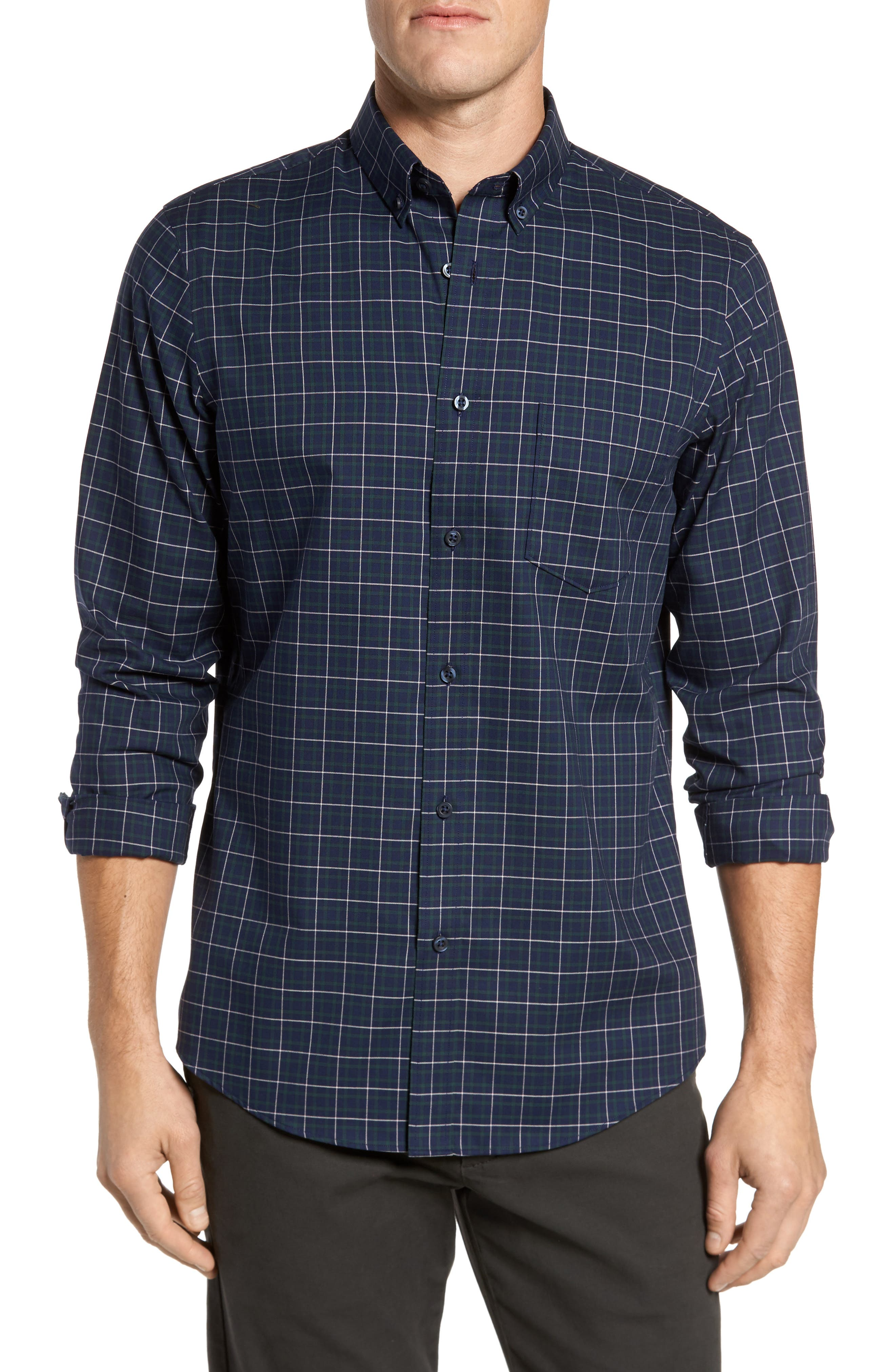 Alternate Image 1 Selected - Nordstrom Men's Shop Regular Fit Non-Iron Plaid Sport Shirt