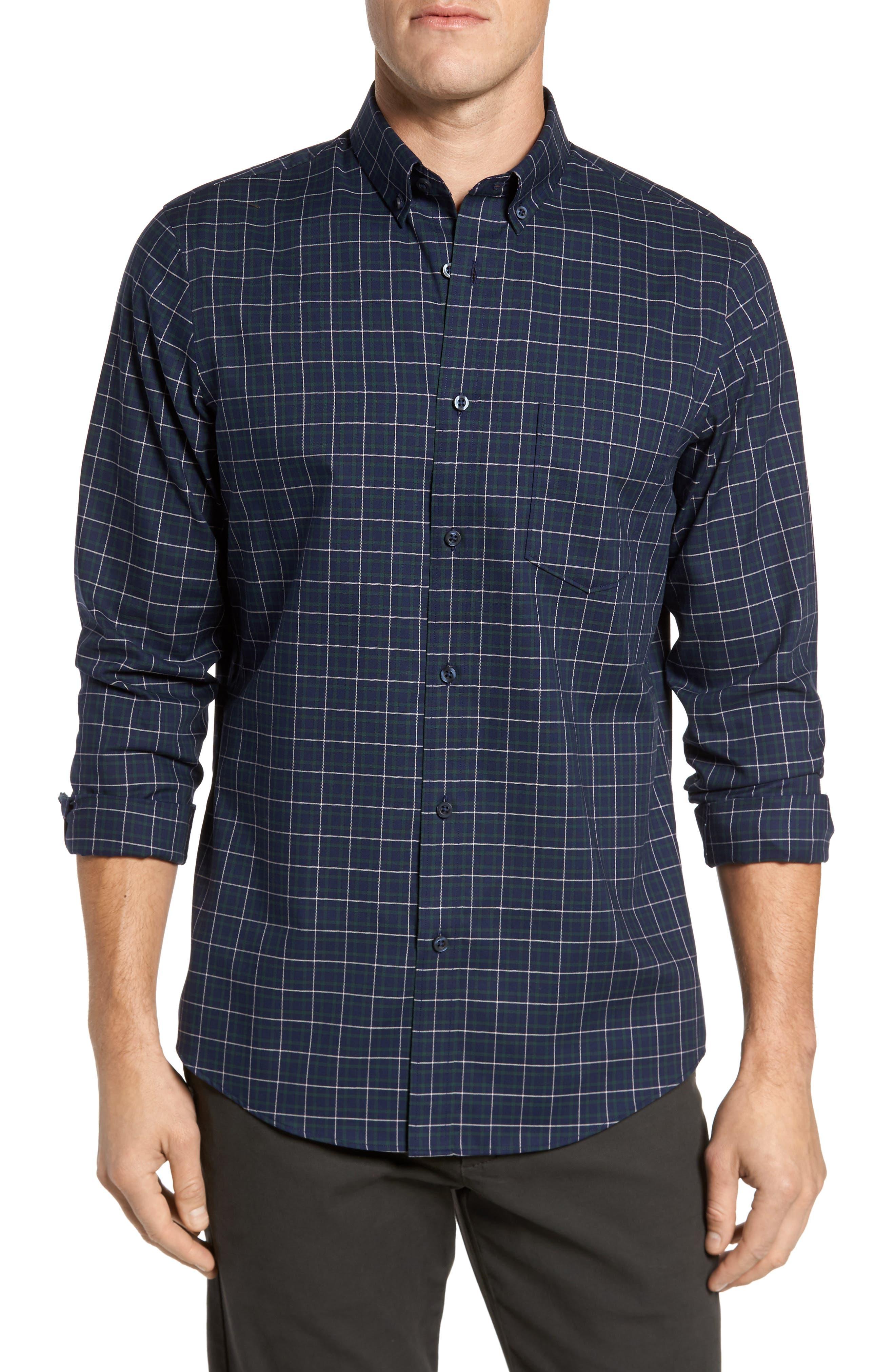 Main Image - Nordstrom Men's Shop Regular Fit Non-Iron Plaid Sport Shirt