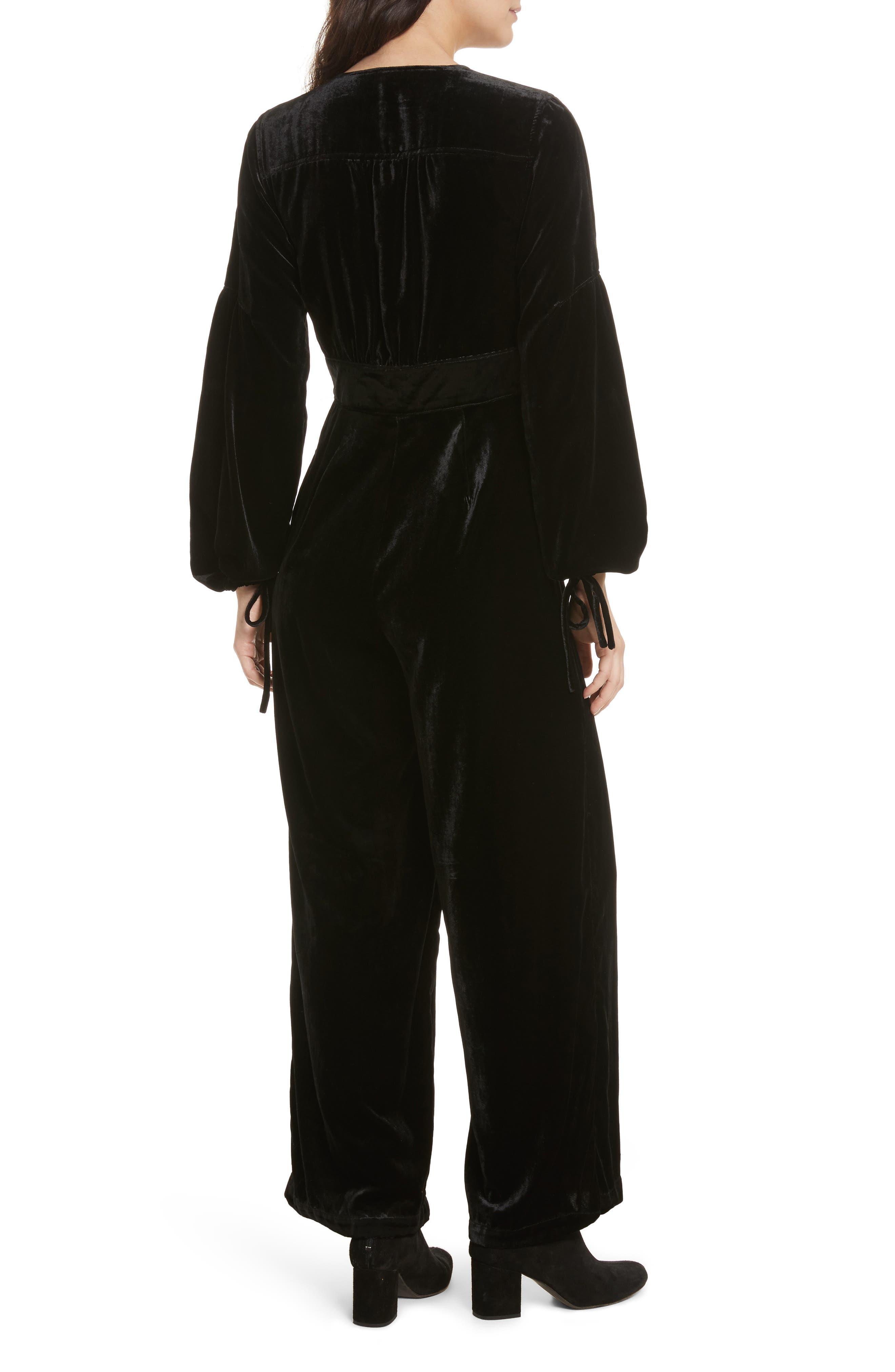 True Lovin Velvet Jumpsuit,                             Alternate thumbnail 3, color,                             Black