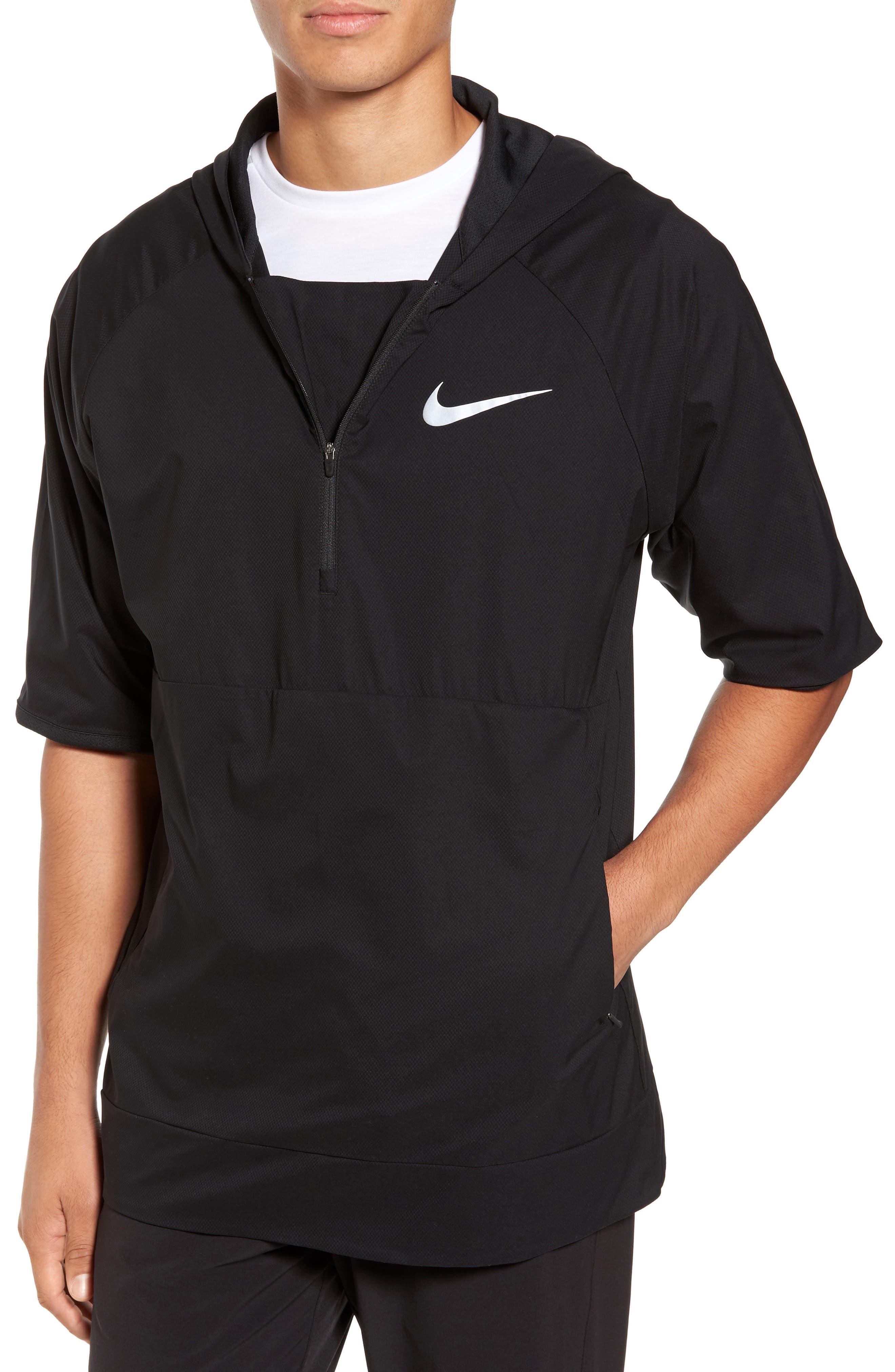 Runnning Flex Short Sleeve Anorak,                             Main thumbnail 1, color,                             Black