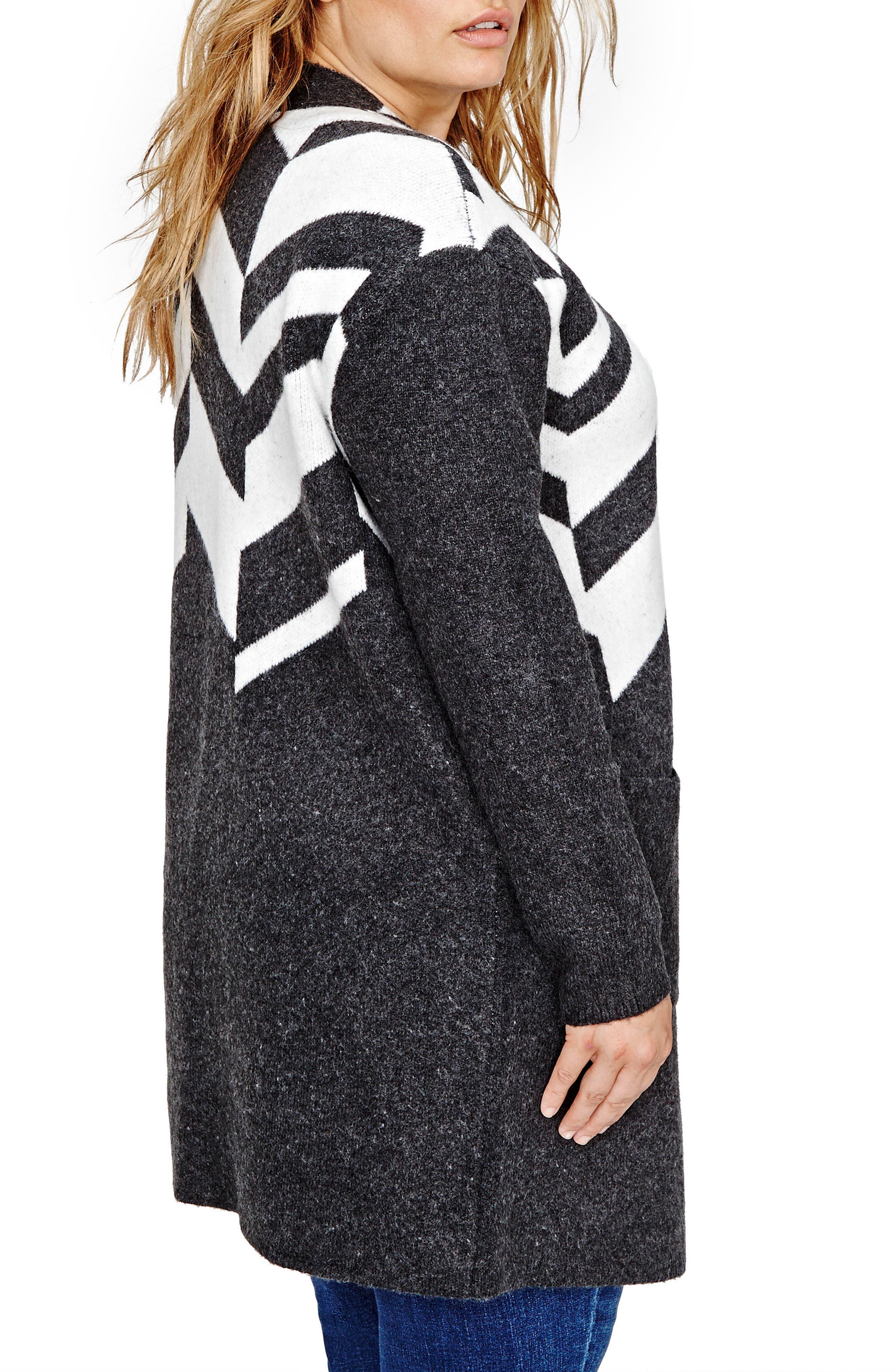 Patterned Sweater Coat,                             Alternate thumbnail 2, color,                             Ash Grey Mix - B85